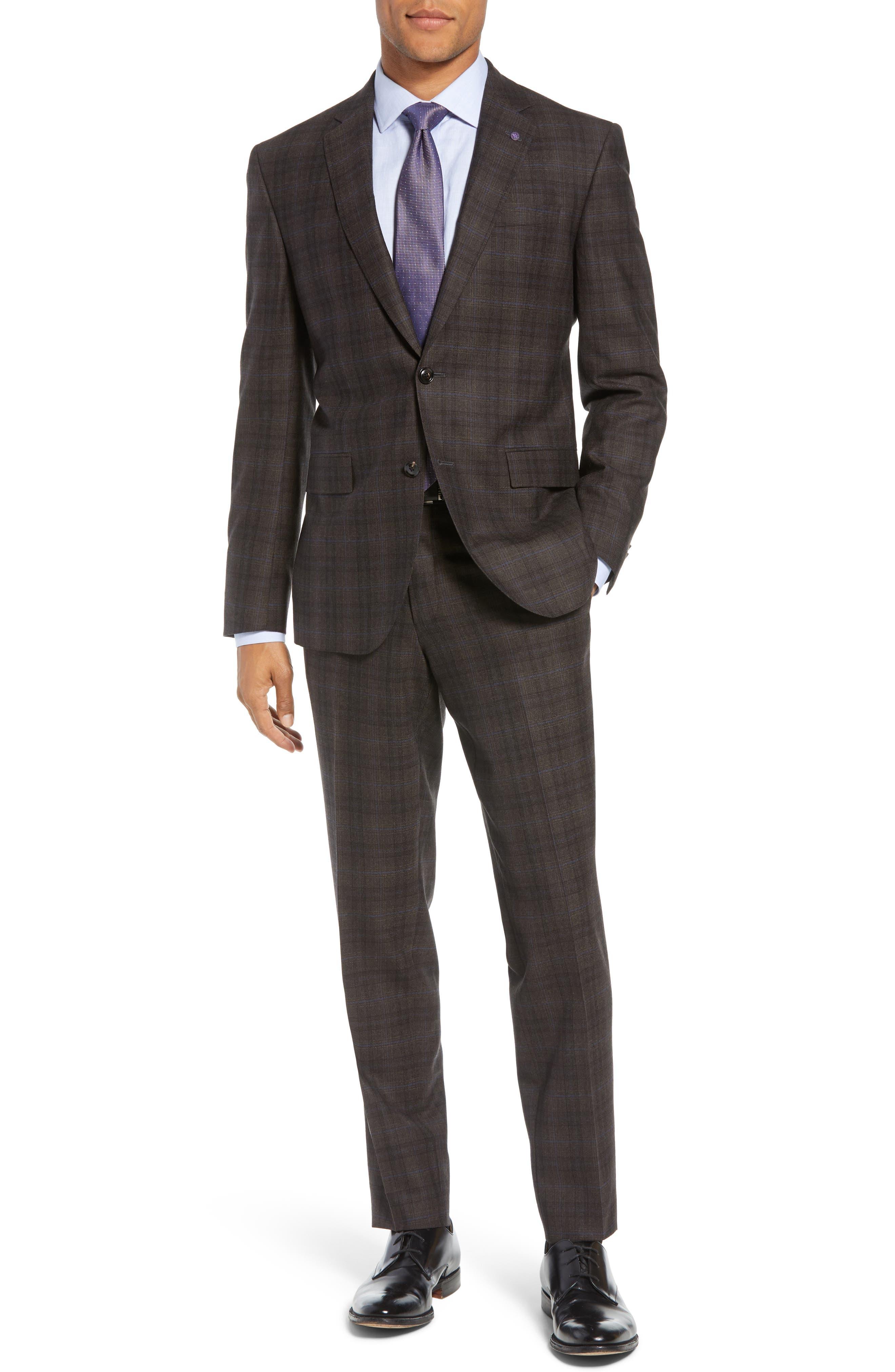Jay Trim Fit Plaid Wool Suit,                         Main,                         color, BROWN PLAID
