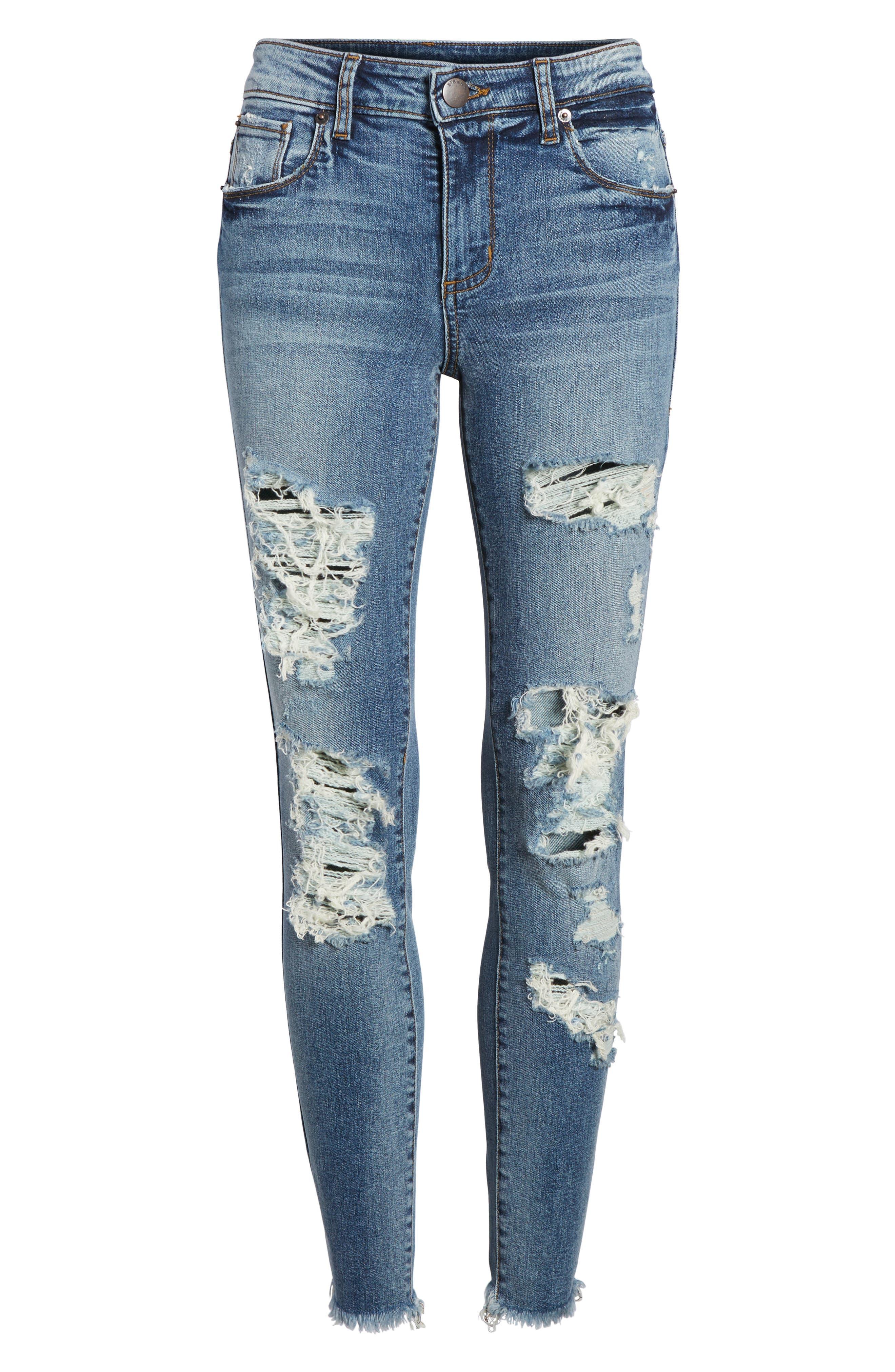 Emma Fray Hem Ripped Ankle Jeans,                             Alternate thumbnail 7, color,                             400