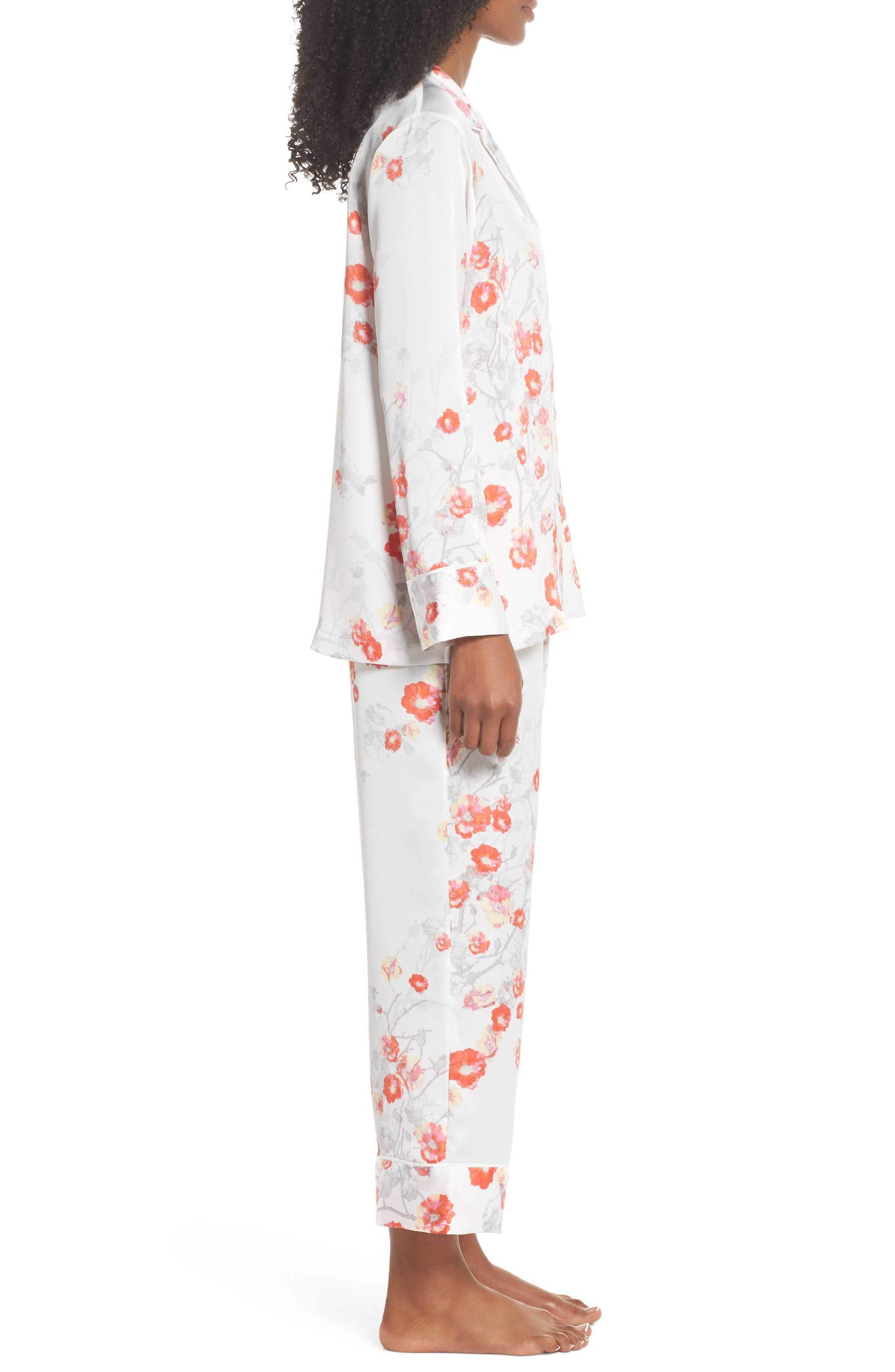 Blossom Print Satin Pajamas,                             Alternate thumbnail 3, color,                             905