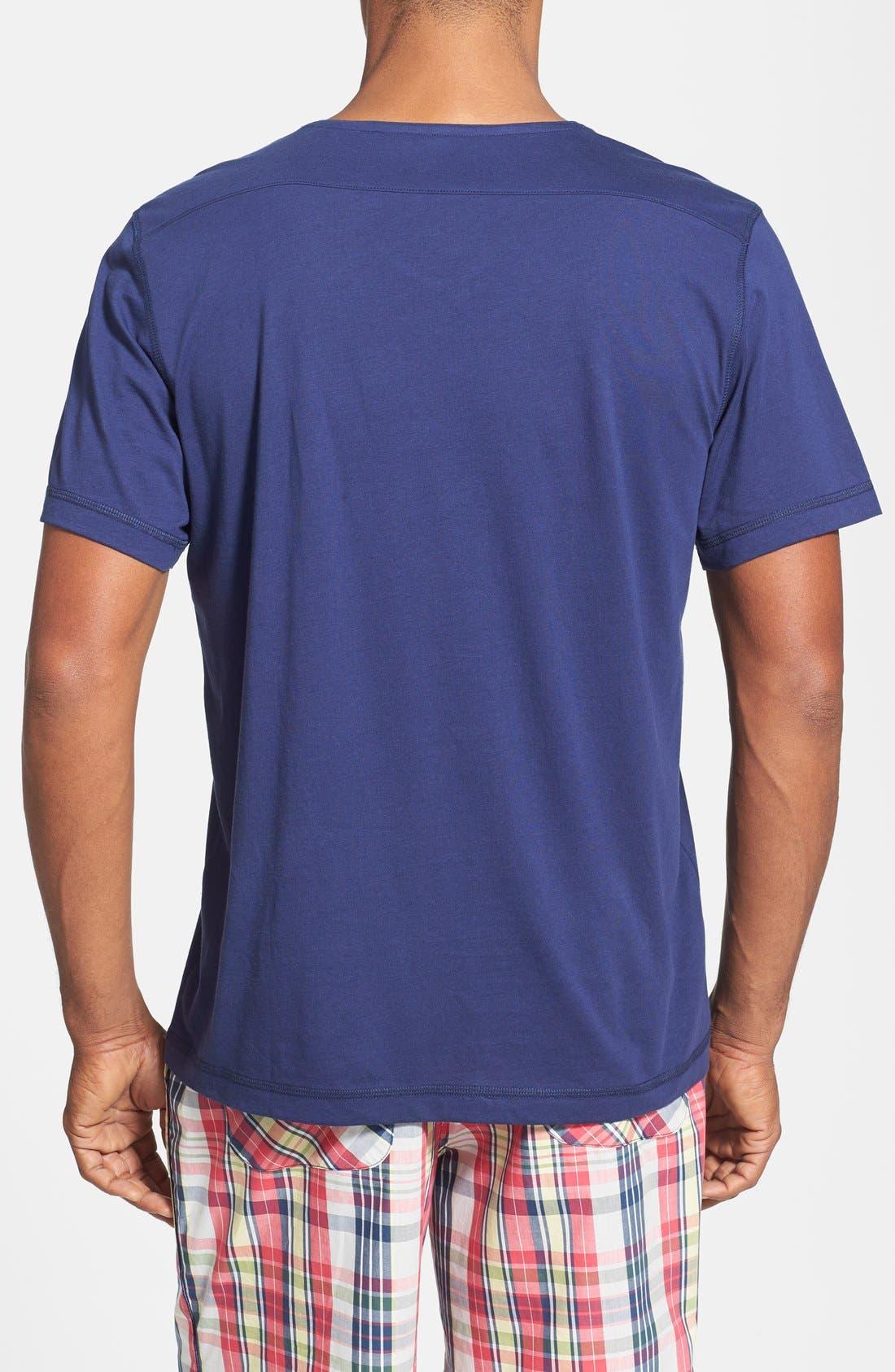 V-Neck Peruvian Pima Cotton T-Shirt,                             Alternate thumbnail 2, color,                             NAVY