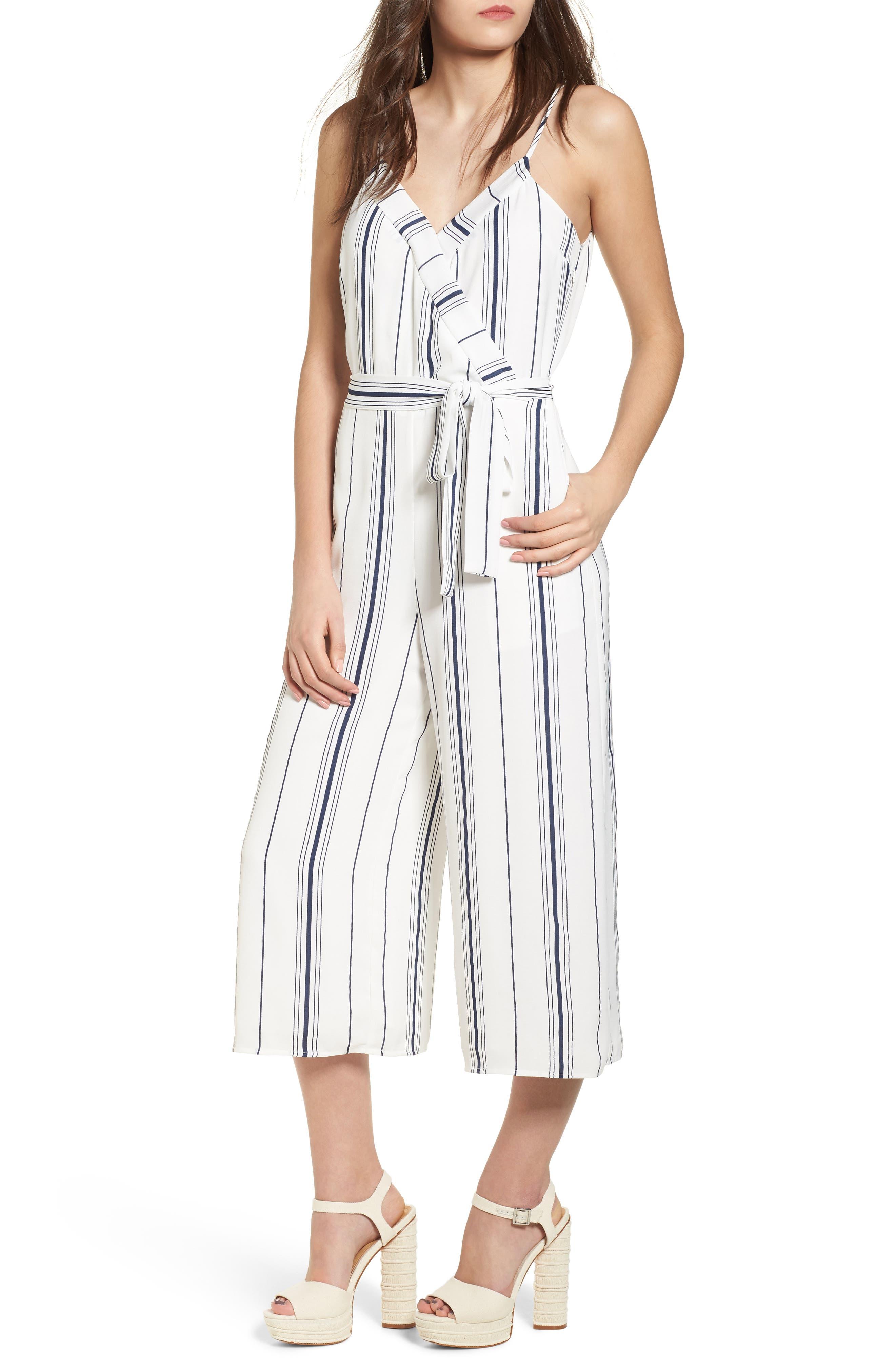Stripe Crop Jumpsuit,                             Main thumbnail 1, color,                             100