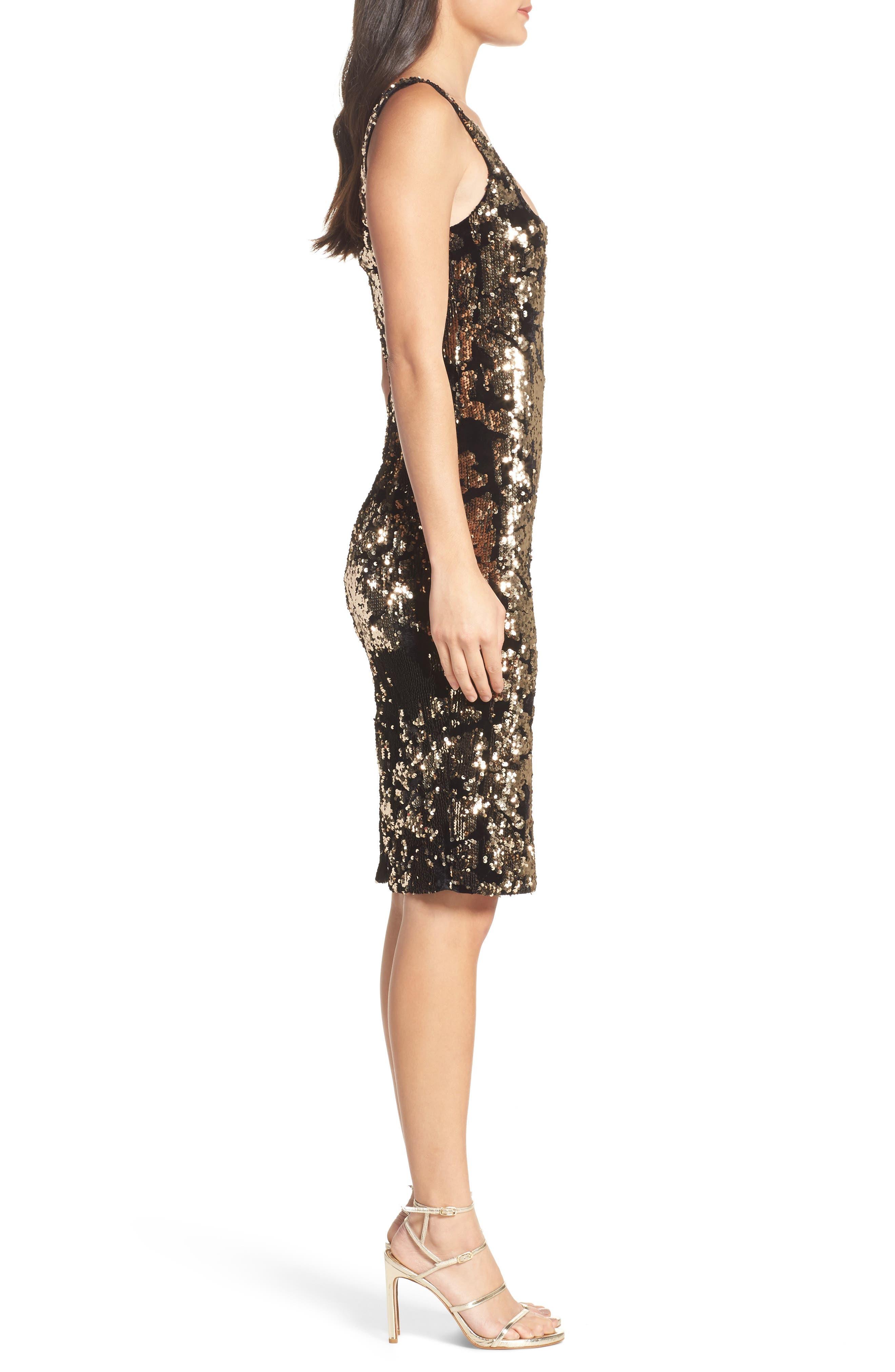 Sequin Velvet Body-Con Dress,                             Alternate thumbnail 3, color,