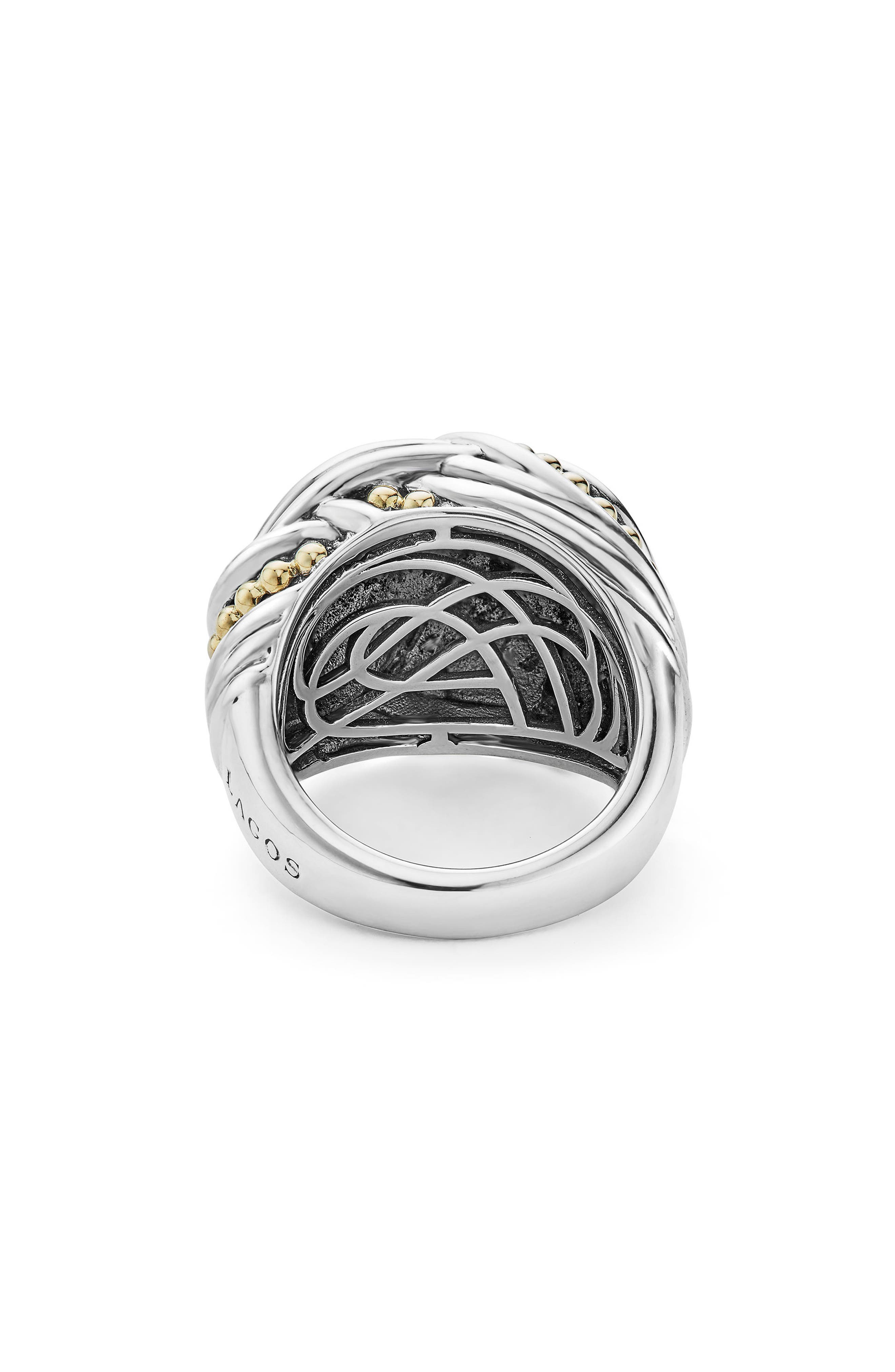 Torsade Large Rounded Rectangle Ring,                             Alternate thumbnail 4, color,                             SILVER/ GOLD
