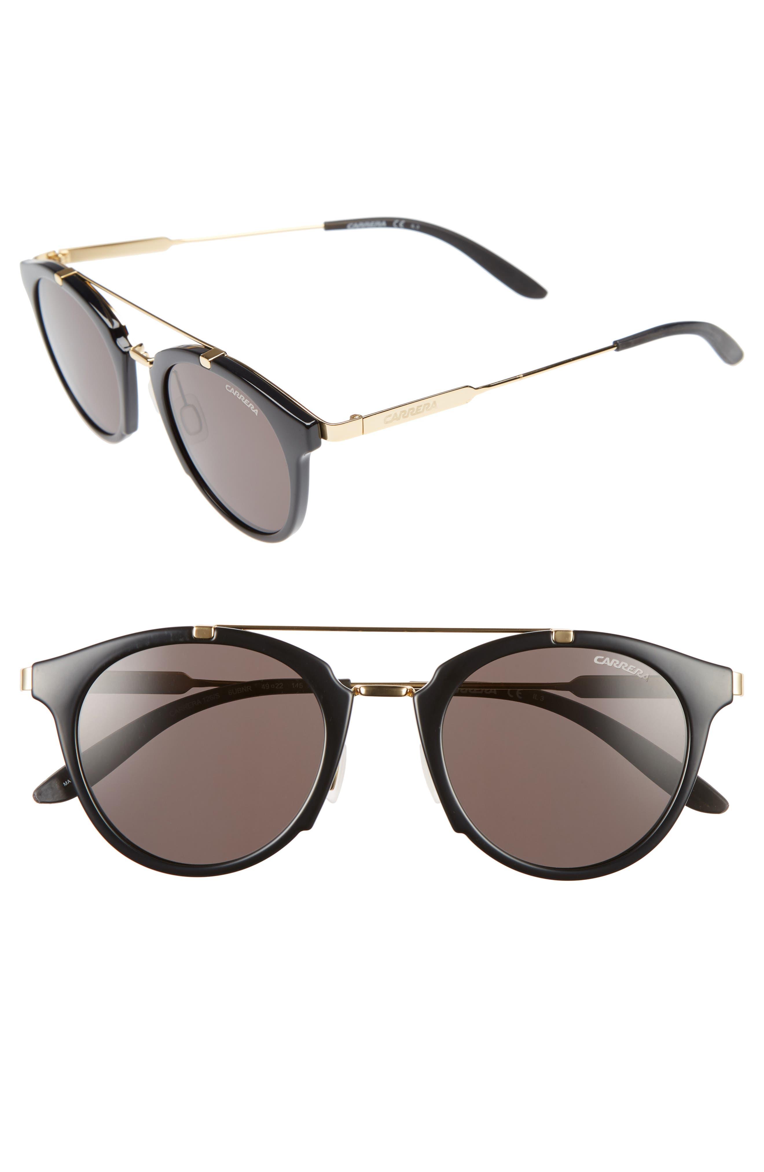 CARRERA EYEWEAR Carrera 126 49mm Sunglasses, Main, color, 001