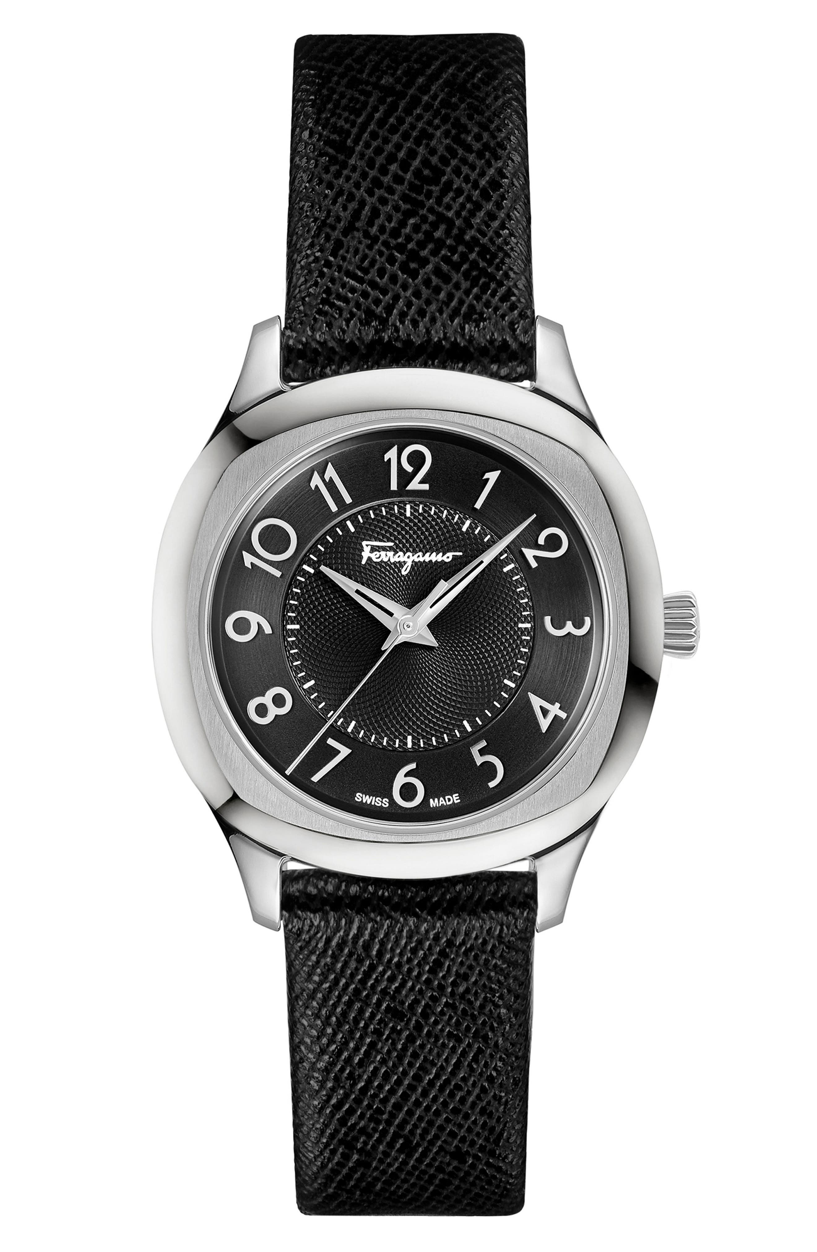 Dual Leather Strap Watch, 36mm,                             Main thumbnail 1, color,                             BLACK/ SILVER