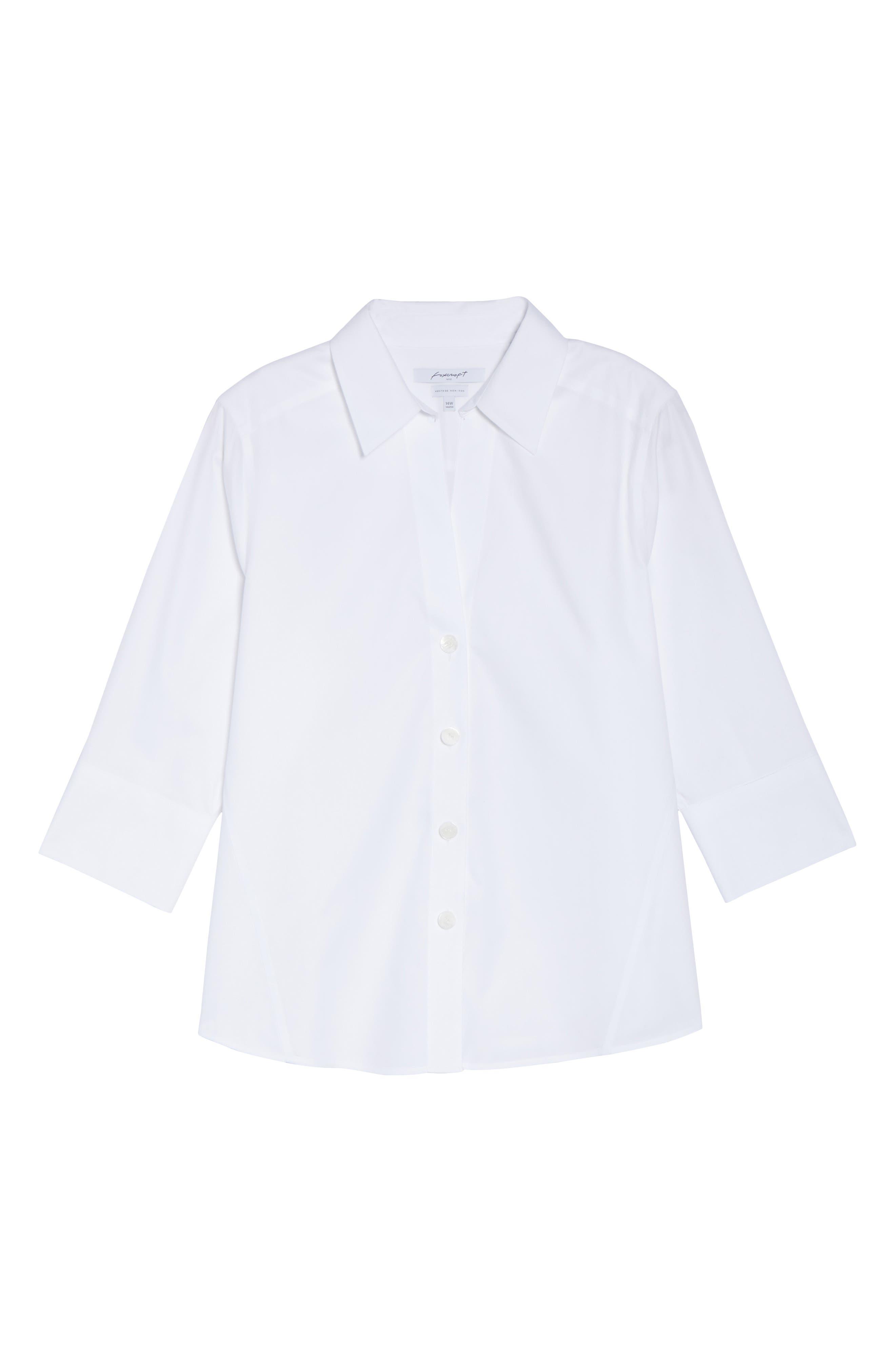 Paige Non-Iron Cotton Shirt,                             Alternate thumbnail 2, color,                             WHITE
