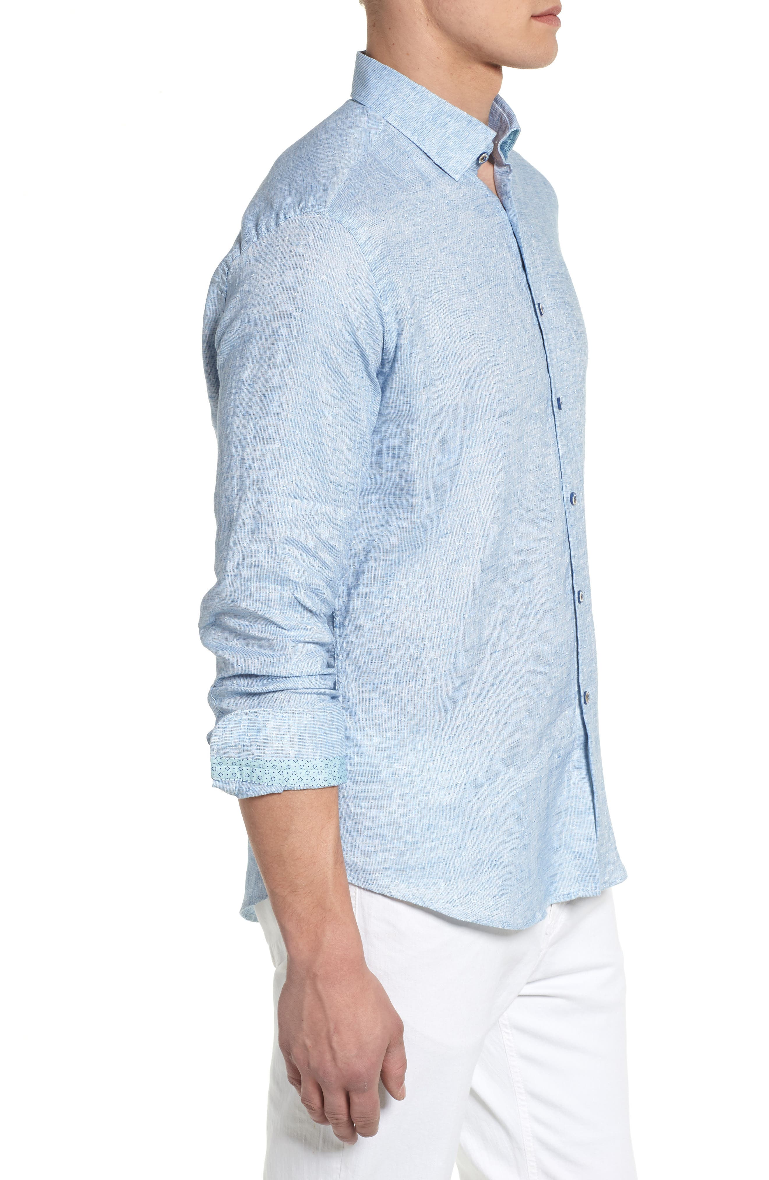 Linen Blend Sport Shirt,                             Alternate thumbnail 8, color,