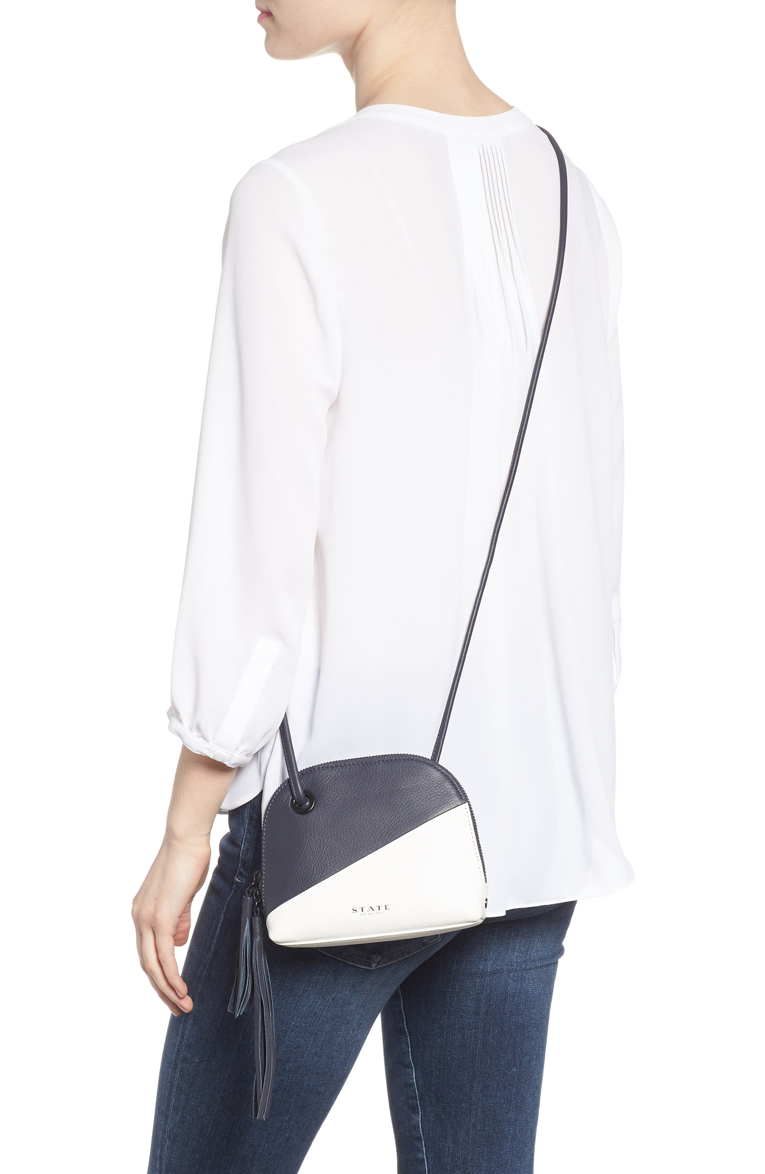 Kay Colorblock Leather Crossbody,                             Alternate thumbnail 2, color,                             NAVY/ WHITE