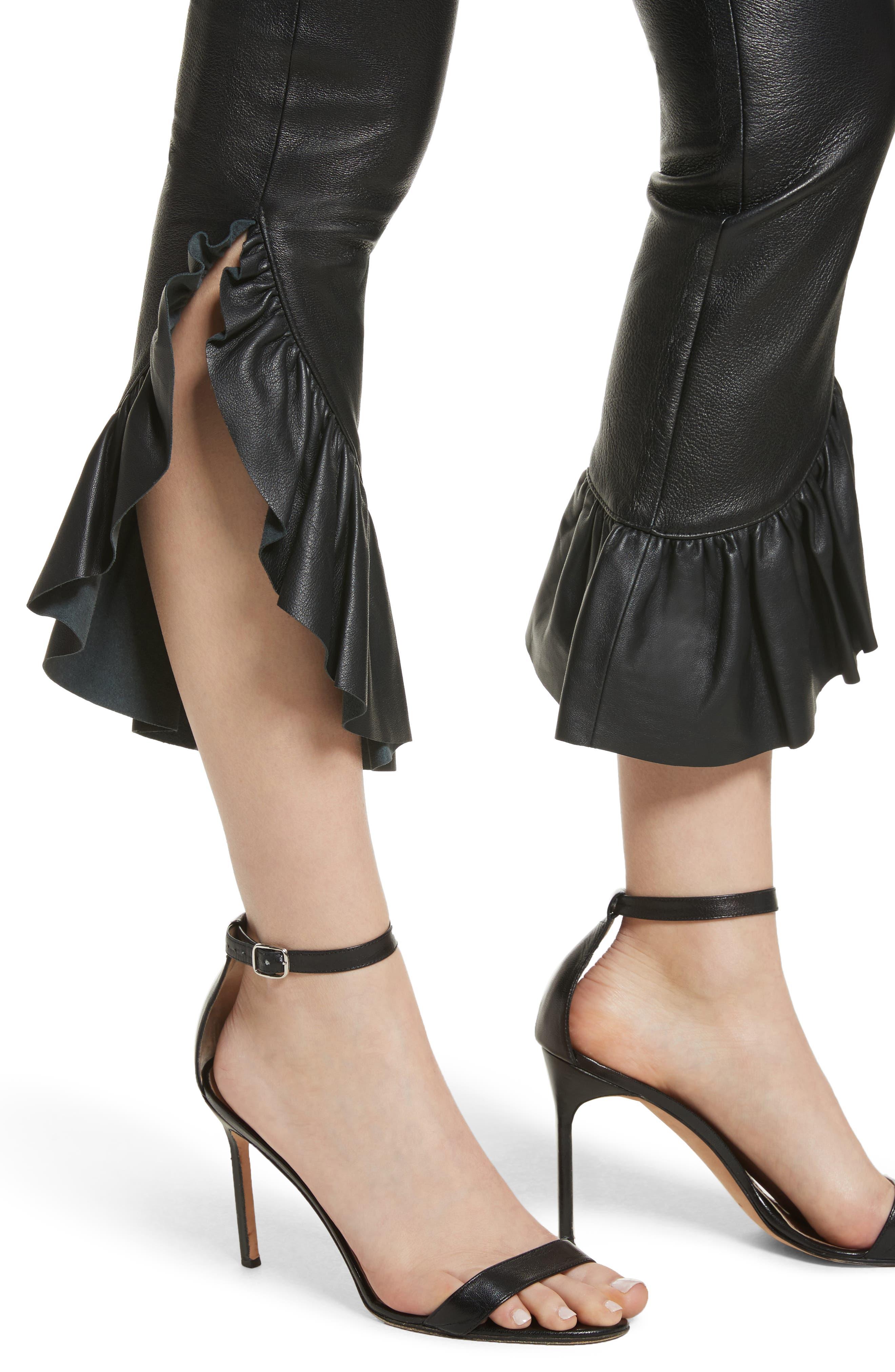 Gionata Ruffle Hem Leather Pants,                             Alternate thumbnail 4, color,