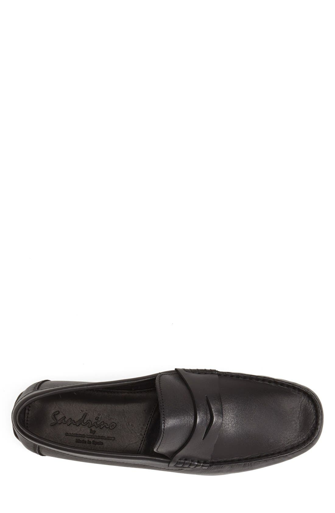 'Paris' Leather Penny Loafer,                             Alternate thumbnail 3, color,                             BLACK