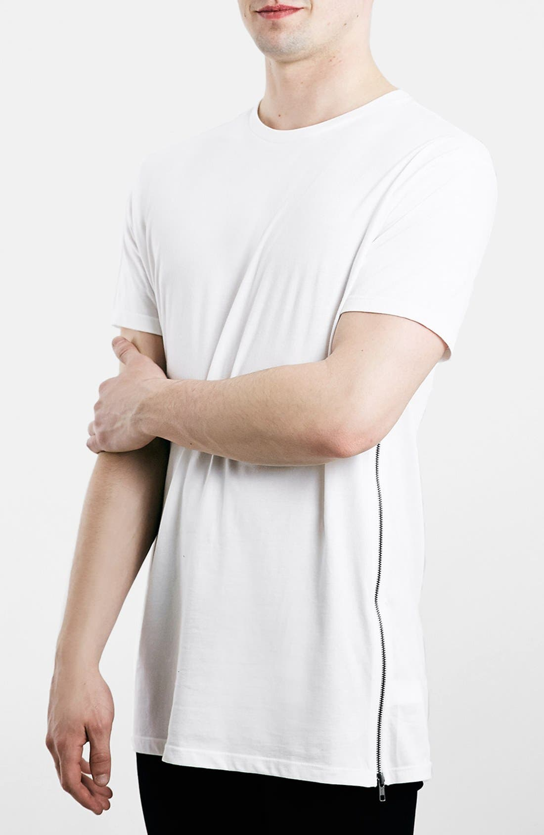 Slim Fit Longline T-Shirt with Side Zip Detail,                             Main thumbnail 1, color,                             100