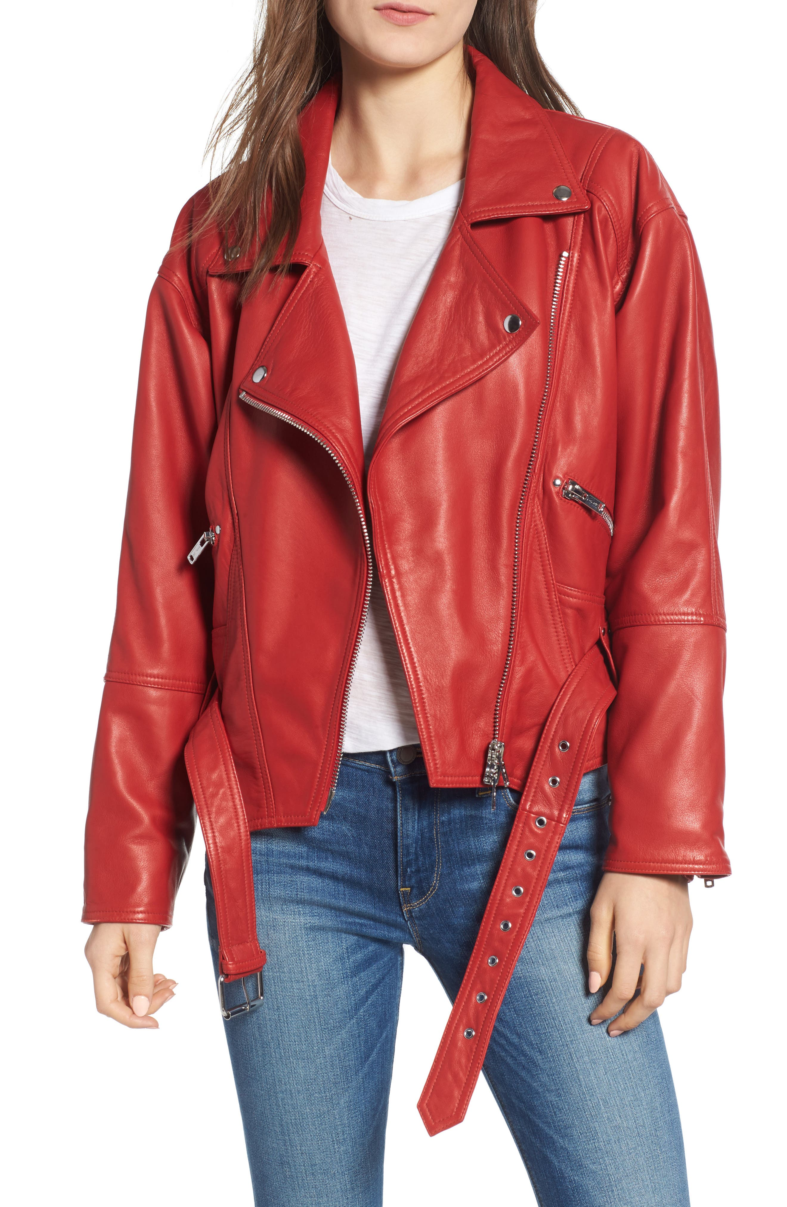 Leather Jacket, Main, color, RIOT