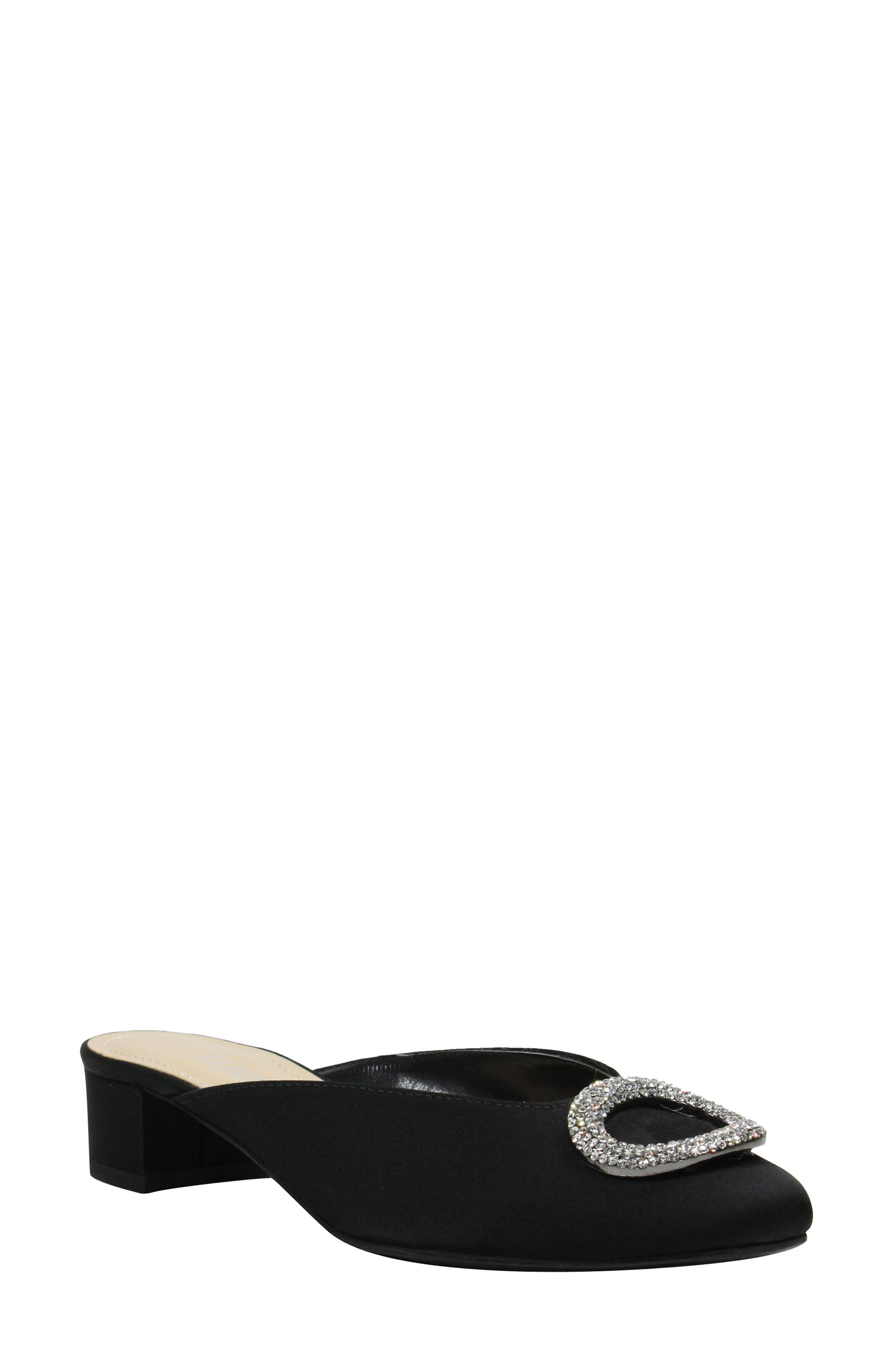 J.Reneé Melosa Crystal Brooch Embellished Mule,                             Main thumbnail 1, color,                             BLACK FABRIC