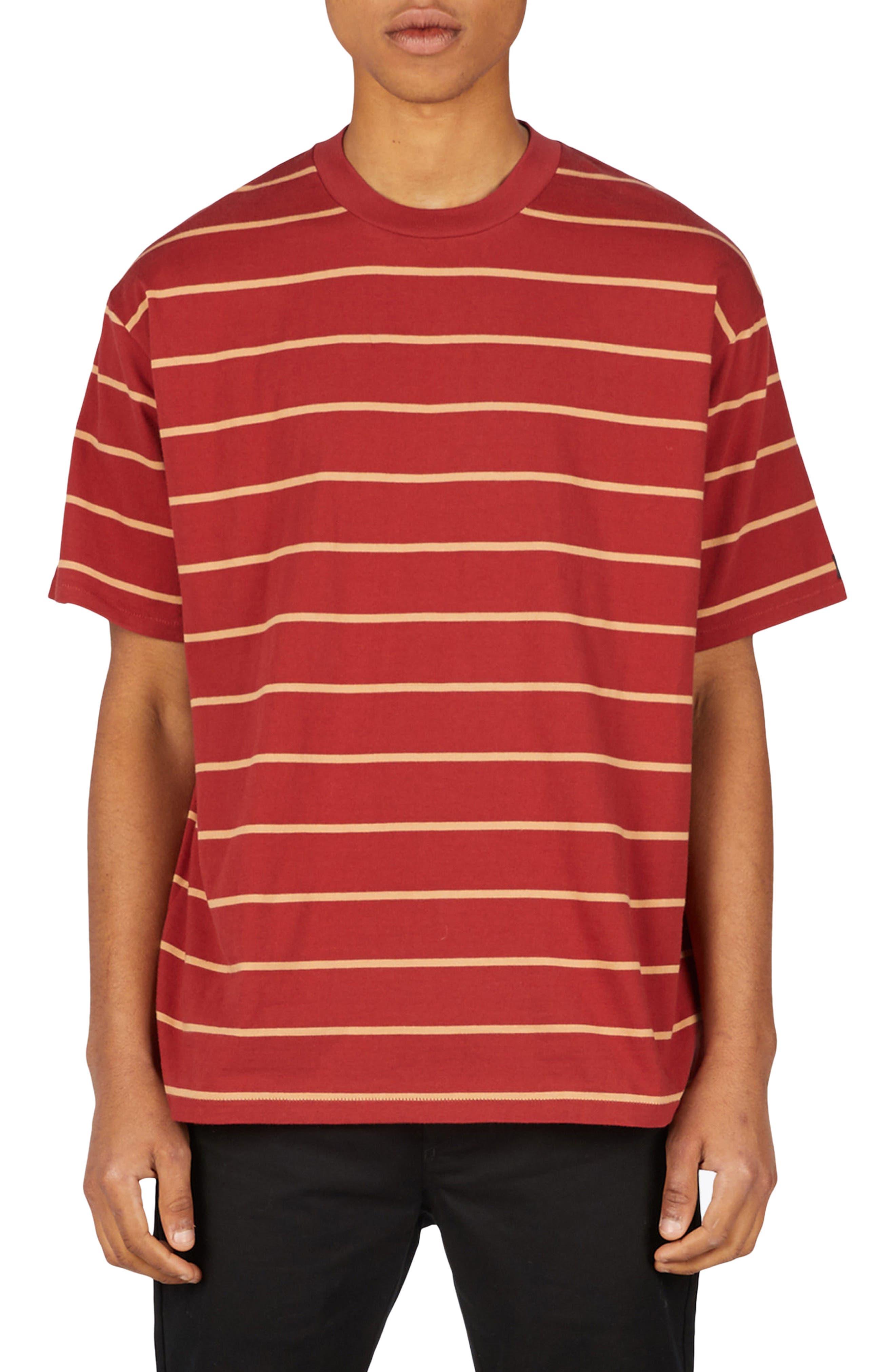 Stripe Box T-Shirt,                             Main thumbnail 1, color,                             DARK CHERRY/ BISCUIT