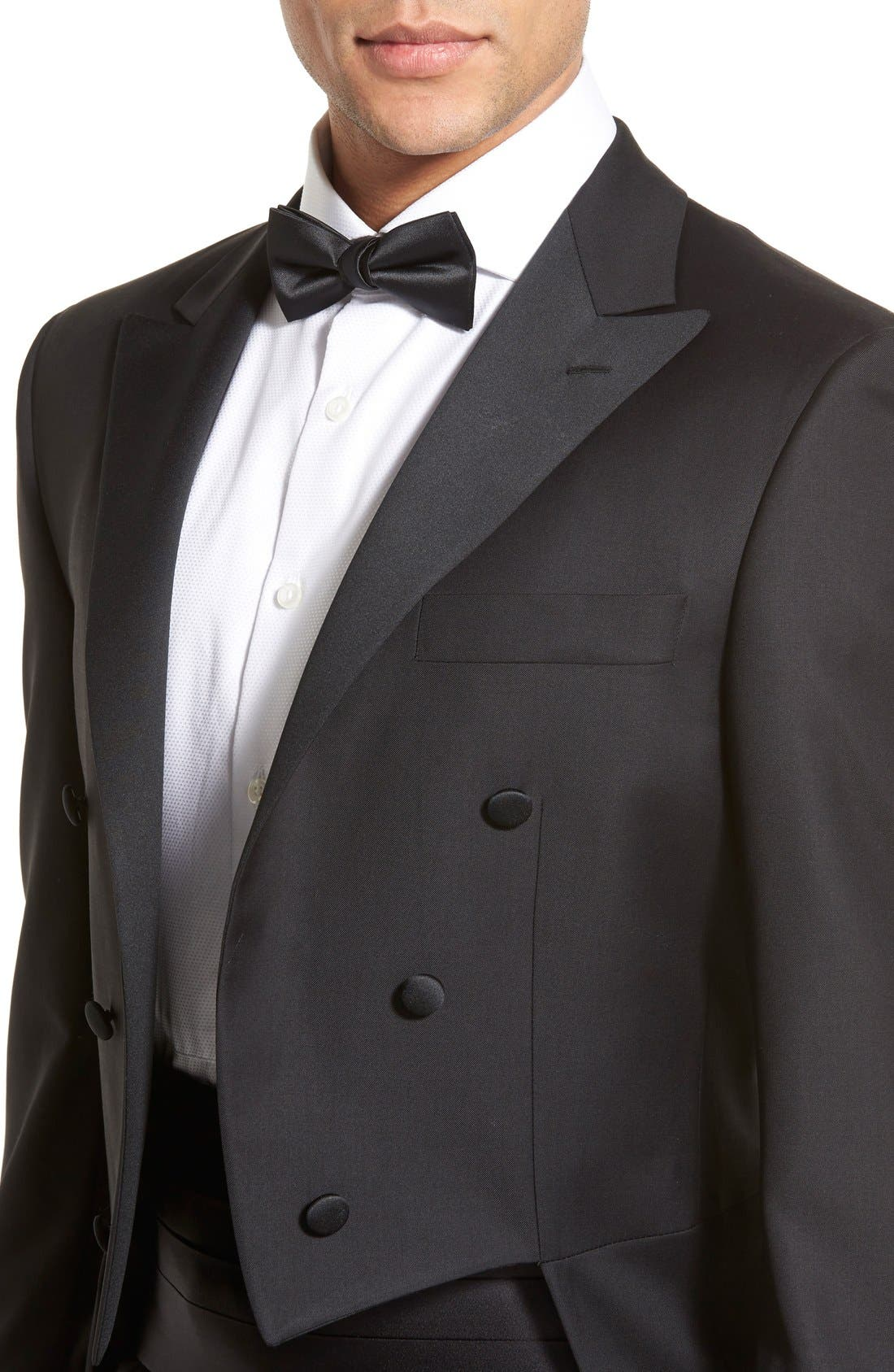 Classic B Fit Tasmanian Wool Tailcoat Tuxedo,                             Alternate thumbnail 7, color,                             BLACK