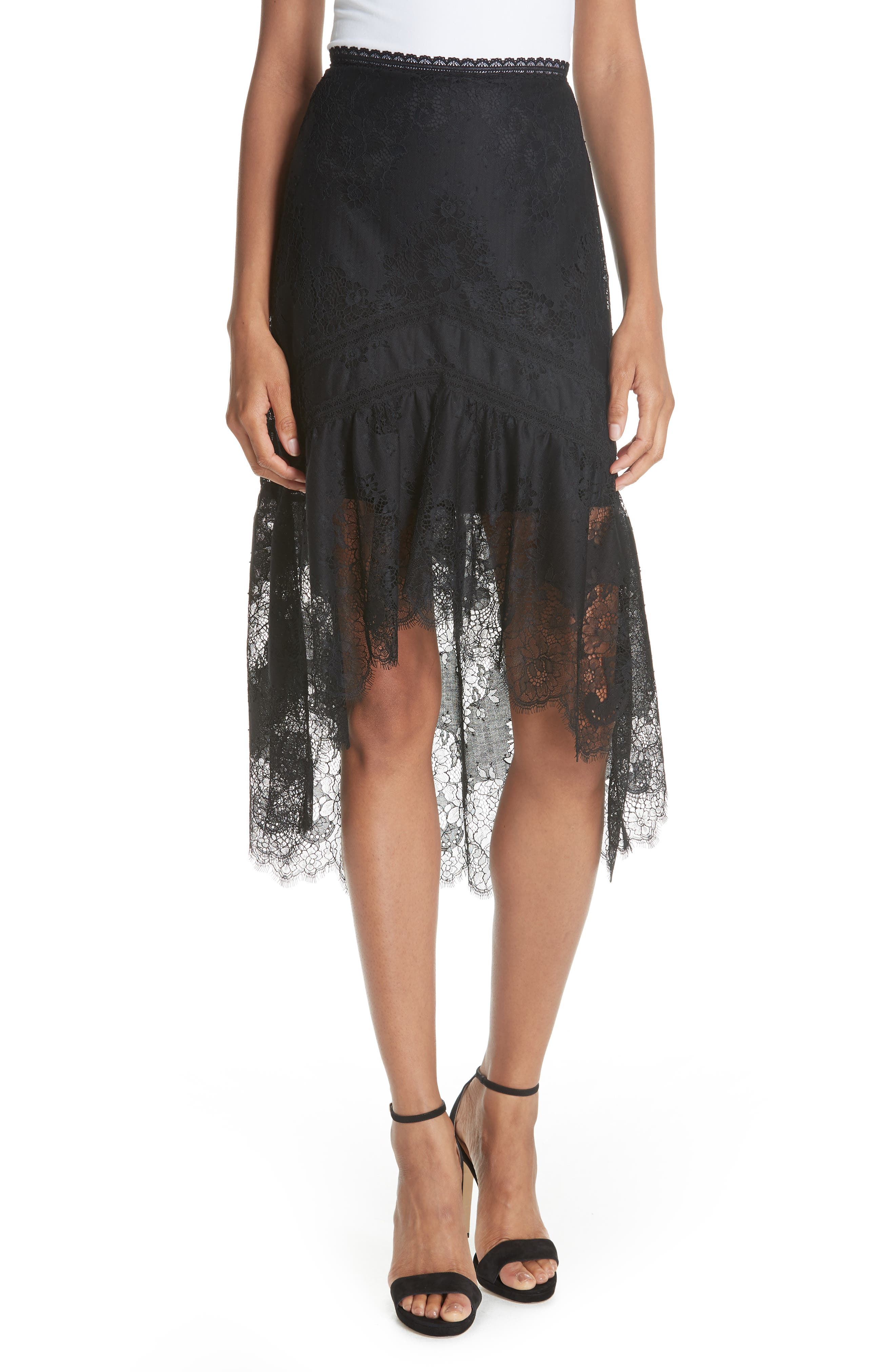 Triss High/Low Lace Skirt,                             Main thumbnail 1, color,                             001