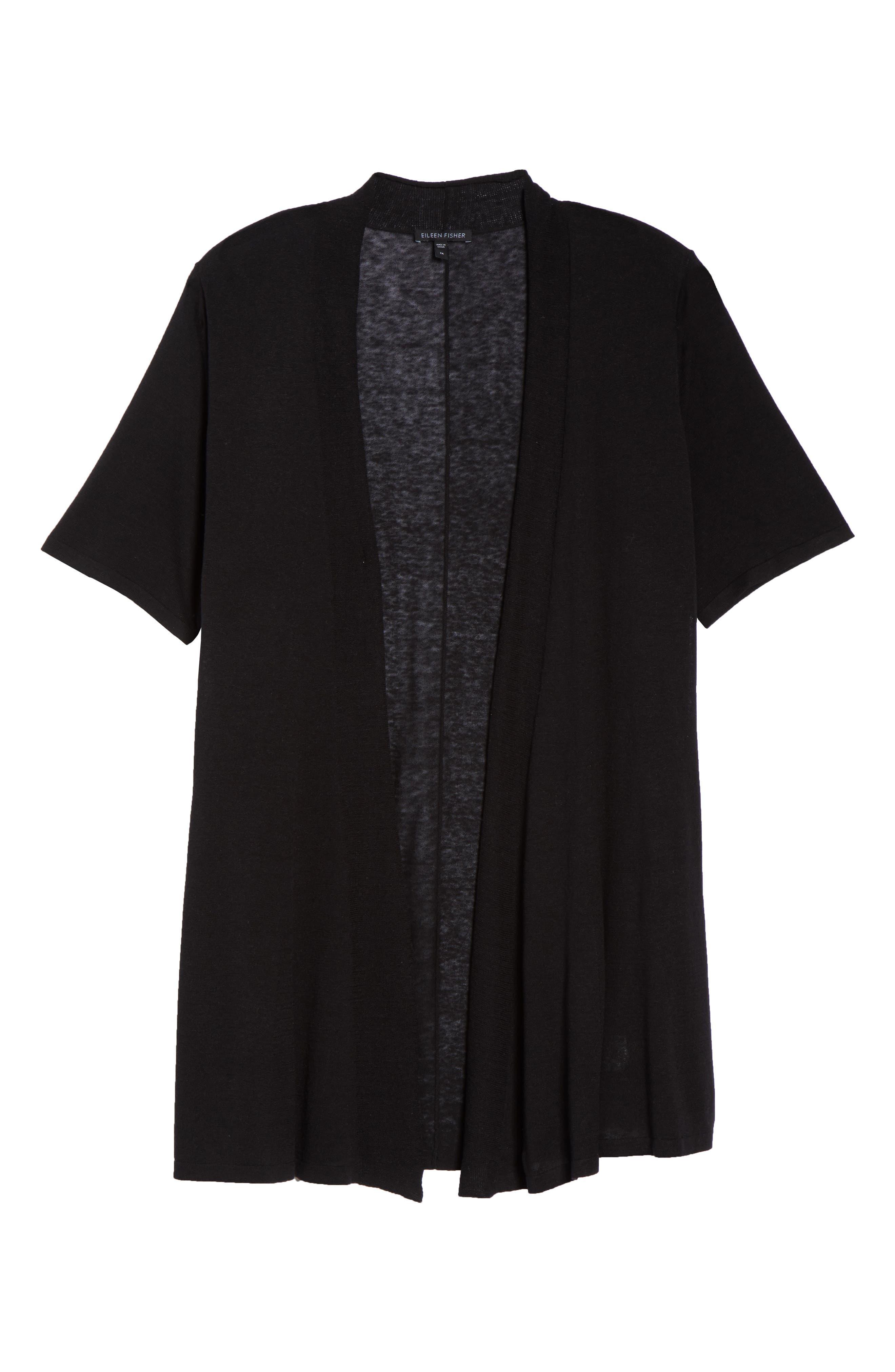 Silk & Organic Linen Long Cardigan,                             Alternate thumbnail 6, color,                             001