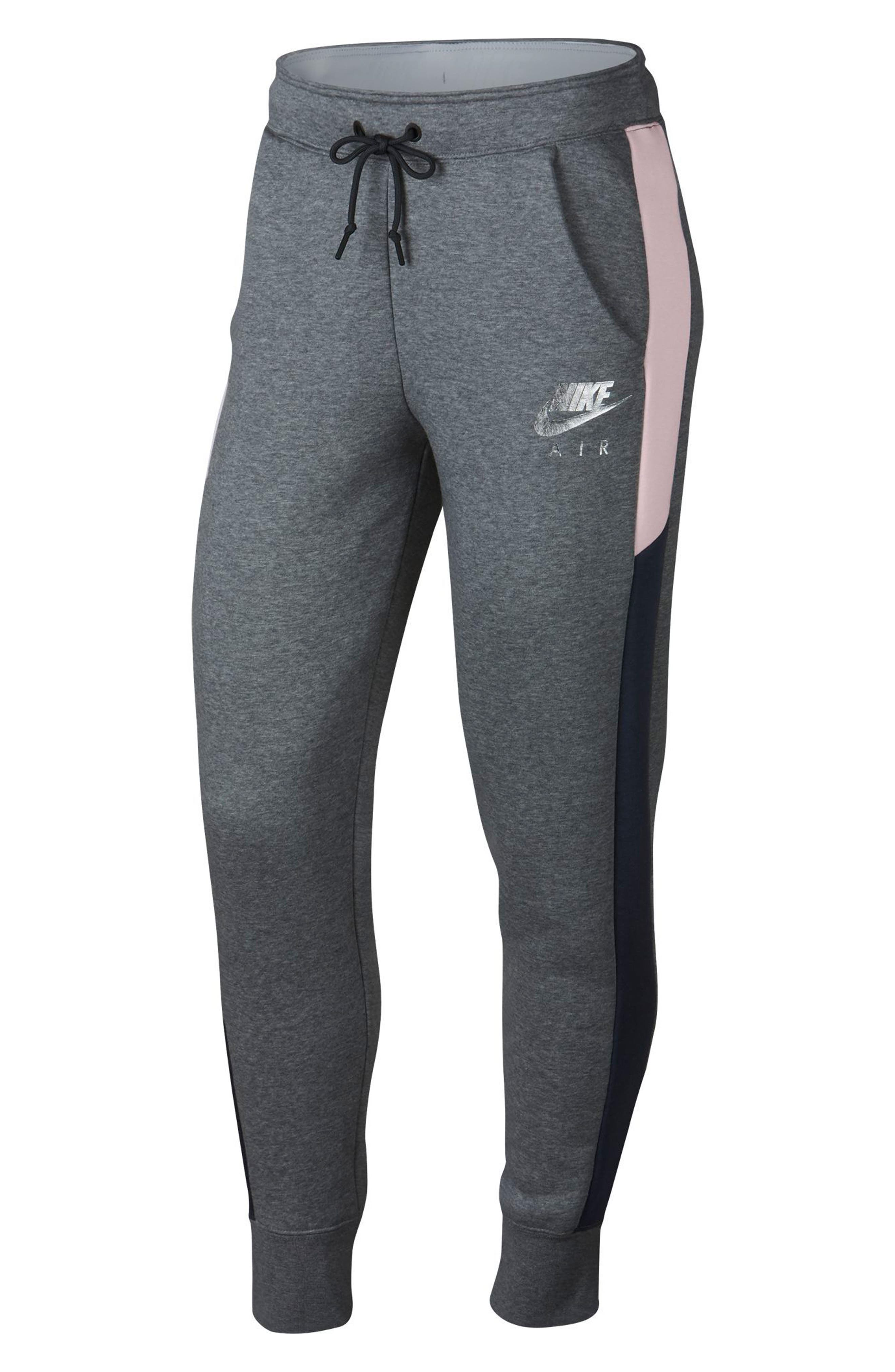 Sportswear Women's Rally Pants,                         Main,                         color, CARBON HTR/ OBSIDIAN/ PINK