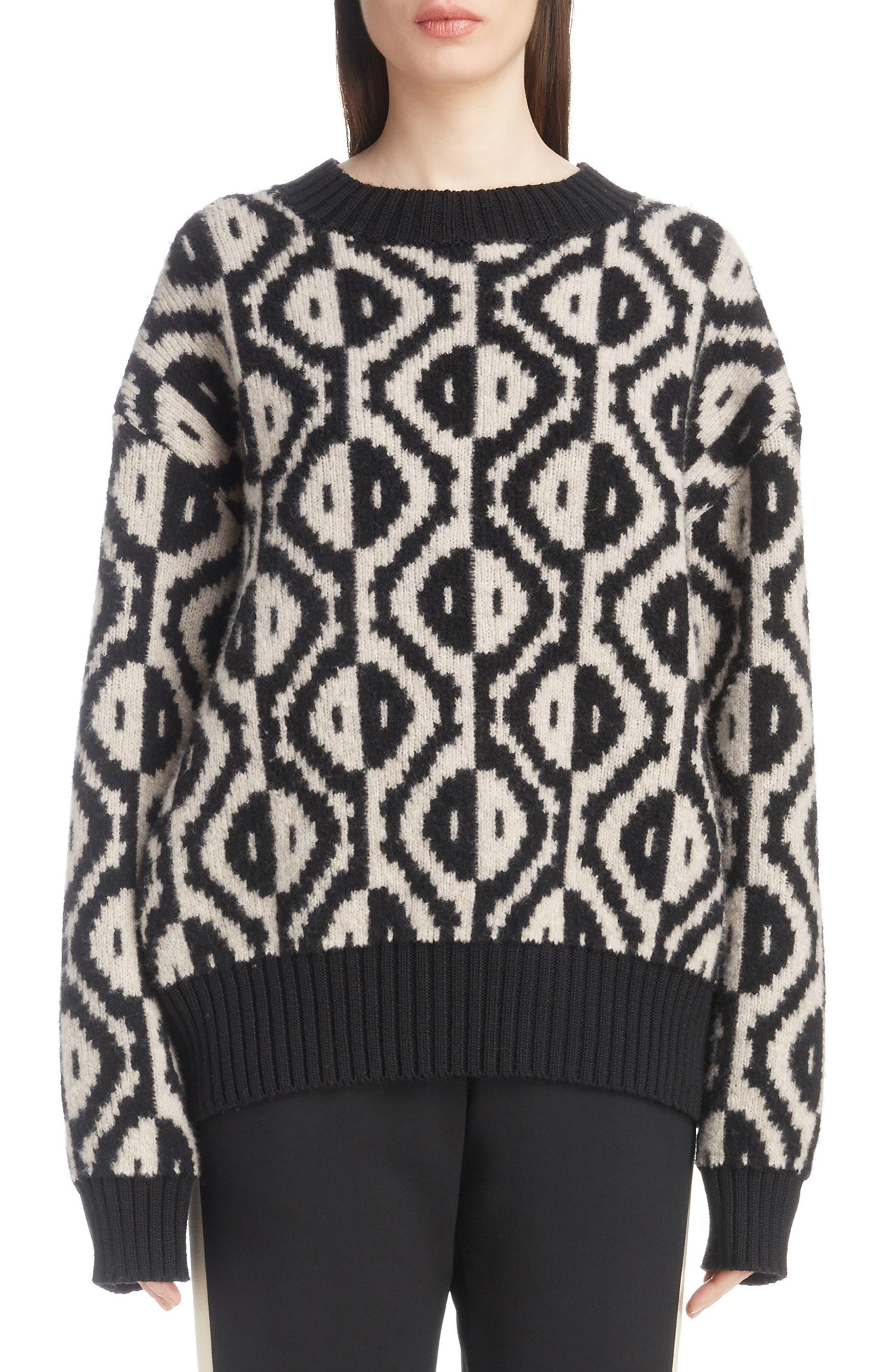 Geo Jacquard Merino Wool Blend Sweater,                             Main thumbnail 1, color,                             001