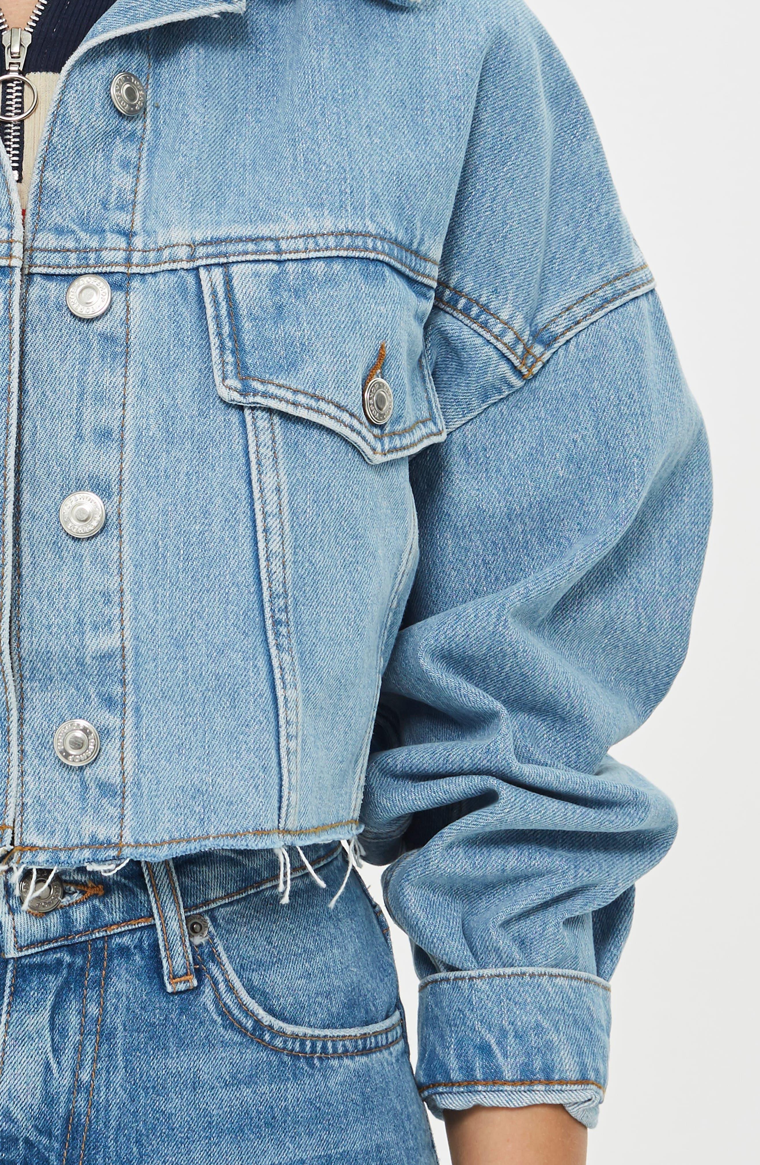 Borg Faux Fur Collar Hacked Denim Jacket,                             Alternate thumbnail 7, color,                             420