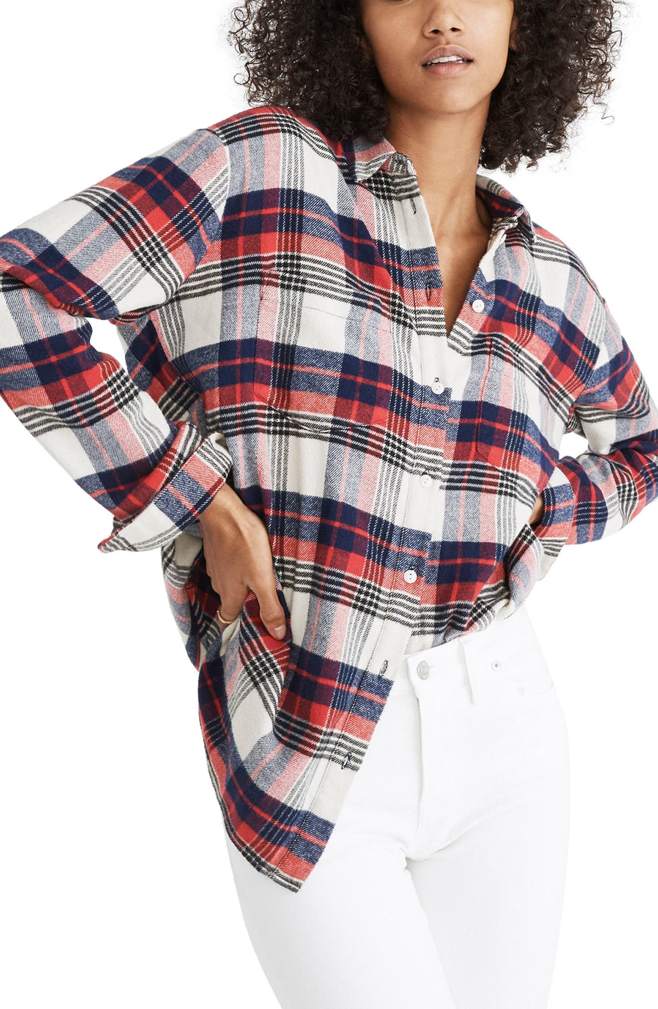 Madewell Ex-Boyfriend Oversize Shirt, Red