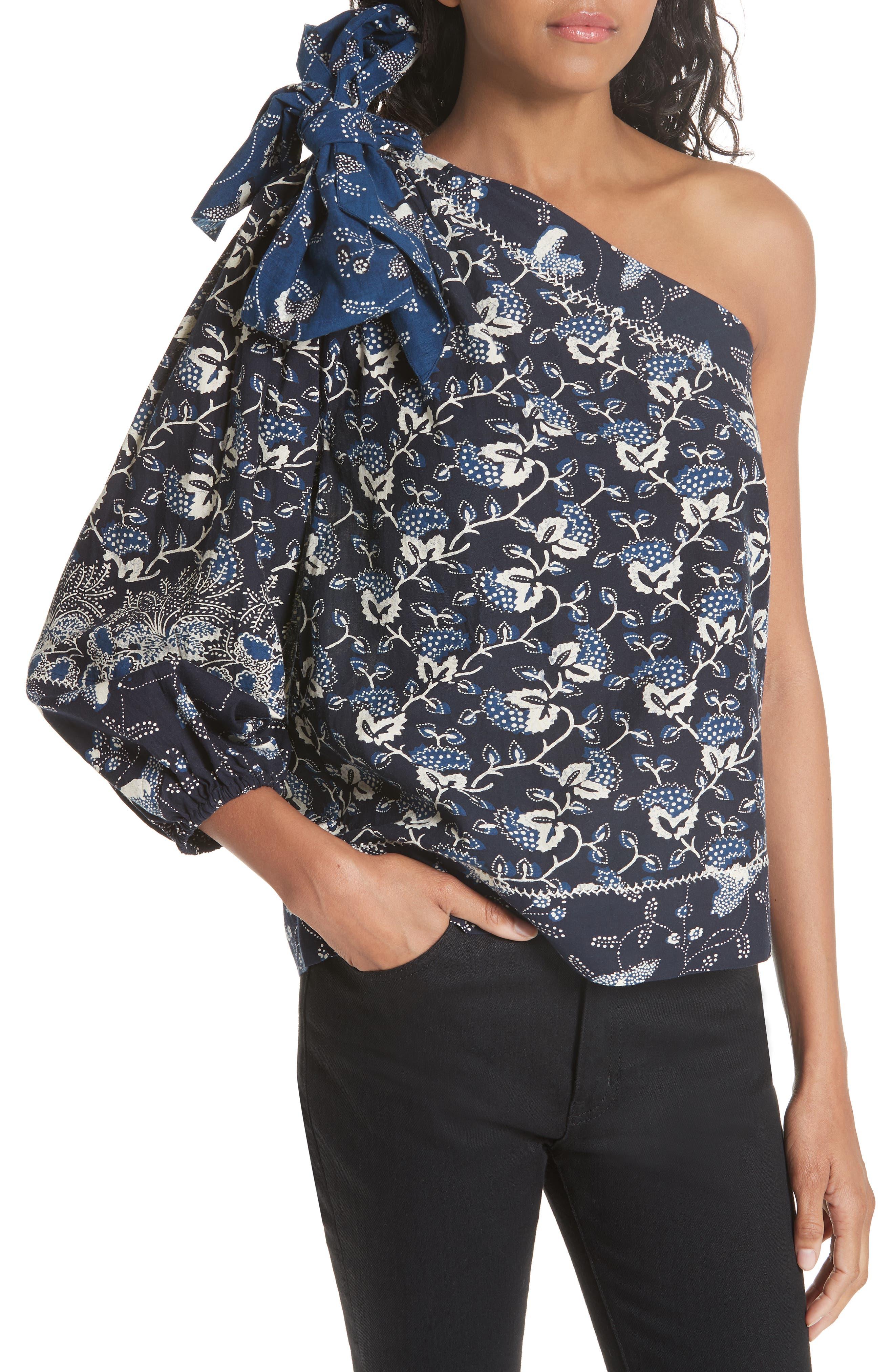 Asima Batik One Shoulder Blouse,                             Alternate thumbnail 4, color,                             400