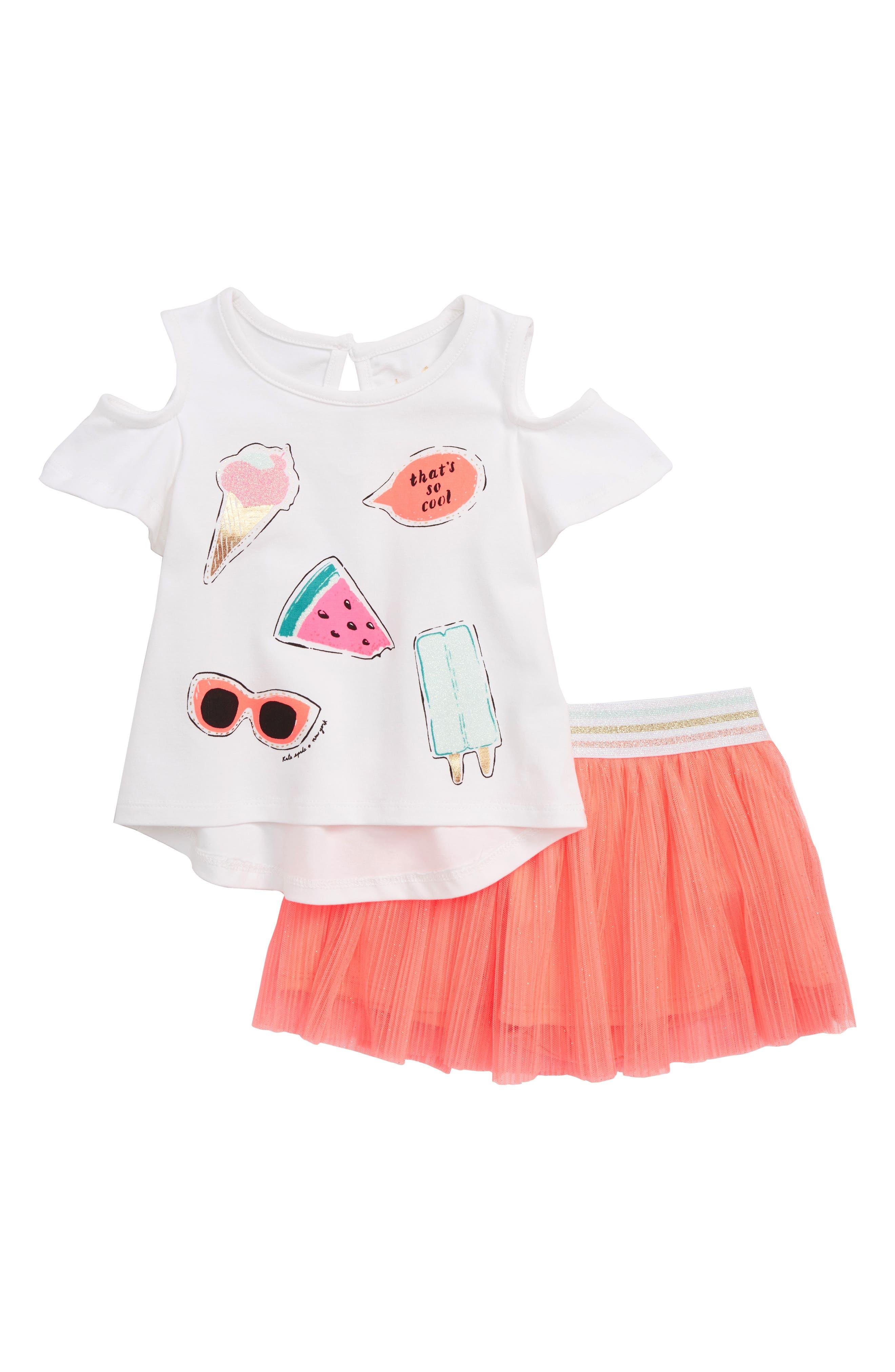 so cool cold shoulder tee & skirt set,                         Main,                         color, 100