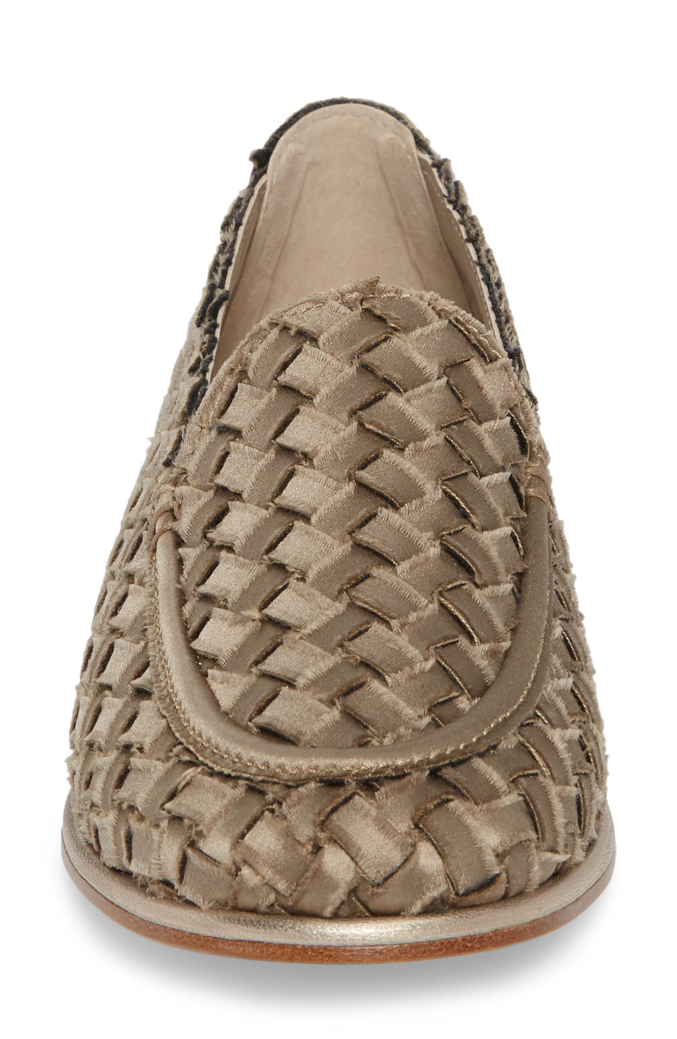 Woven Loafer,                             Alternate thumbnail 4, color,                             TAUPE SATIN