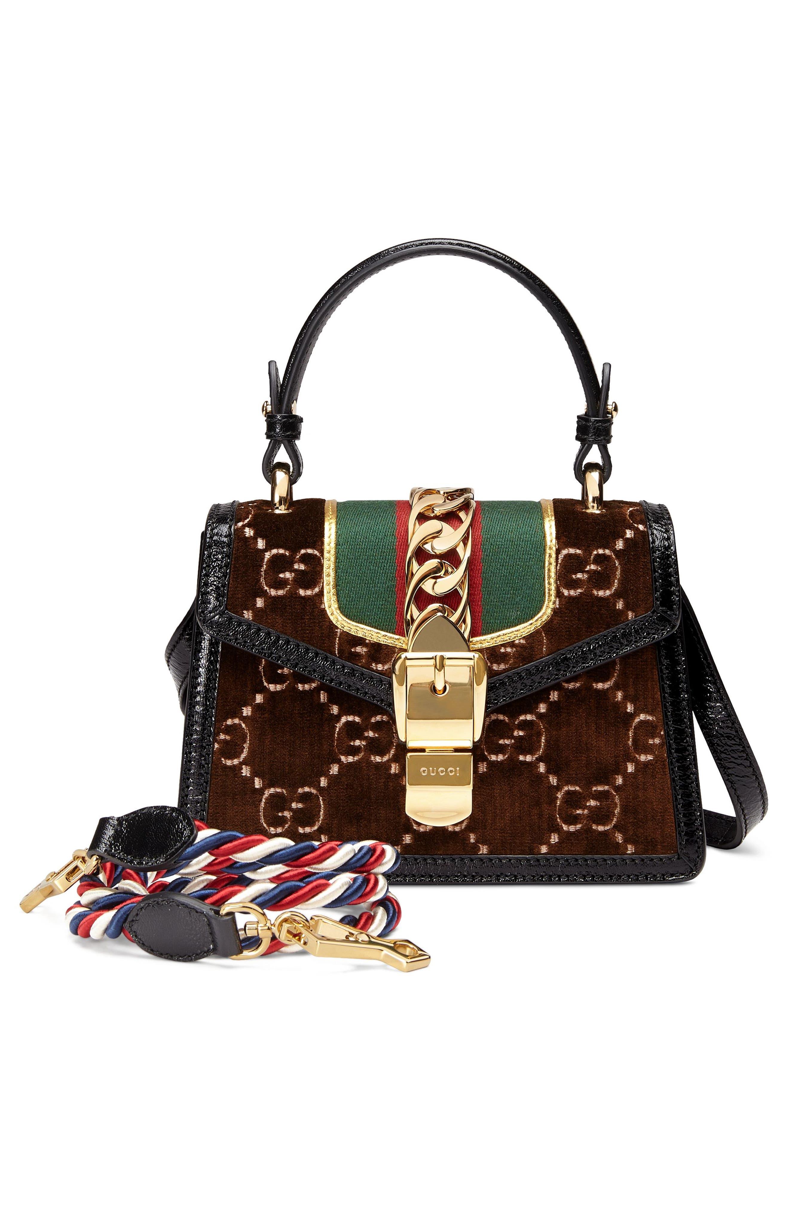 Mini Sylvie Velvet Top Handle Bag,                             Alternate thumbnail 2, color,                             BROWN/ NERO/ VERT RED VERT