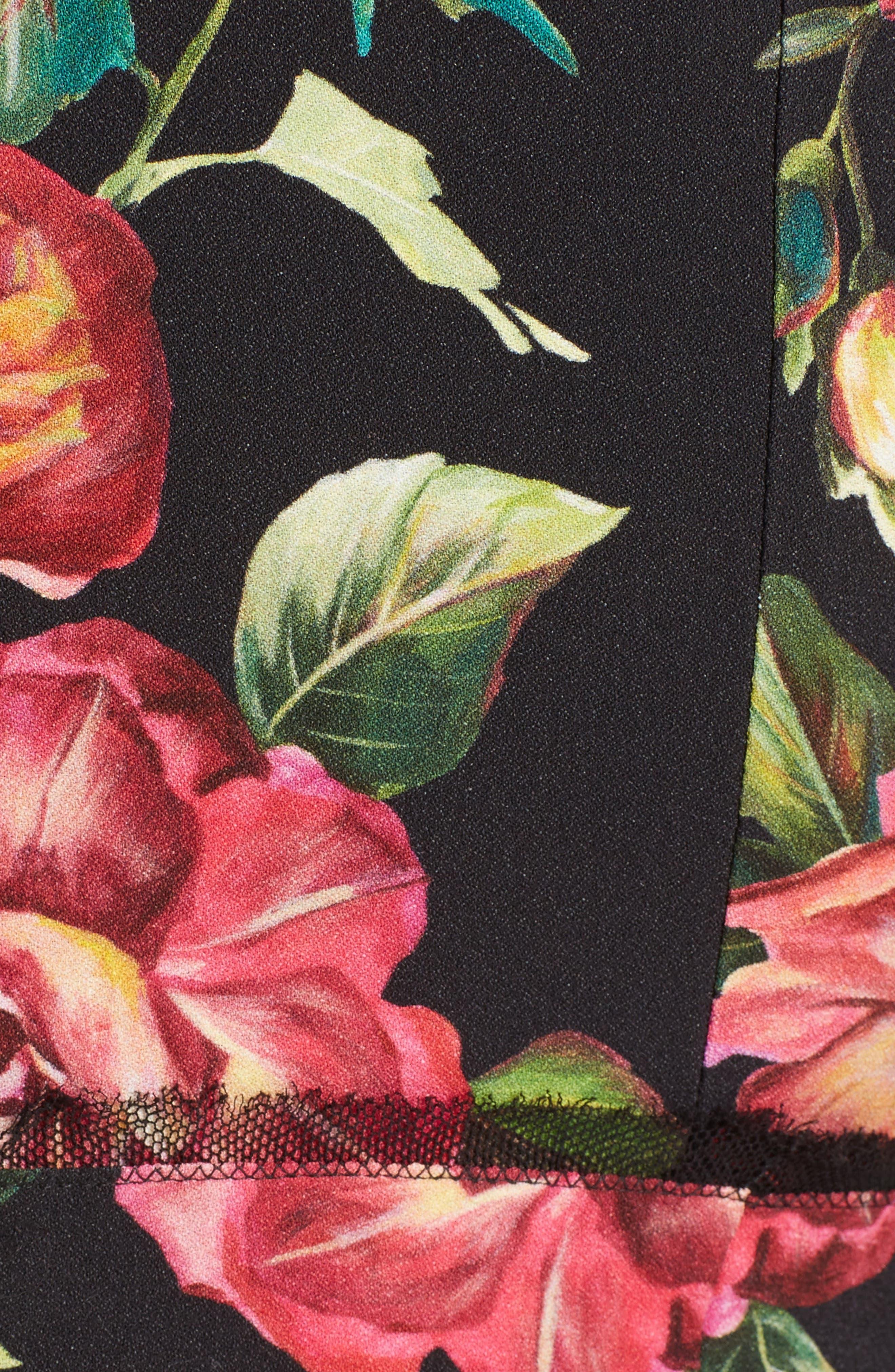 Rose Print Cady A-Line Dress,                             Alternate thumbnail 5, color,                             001