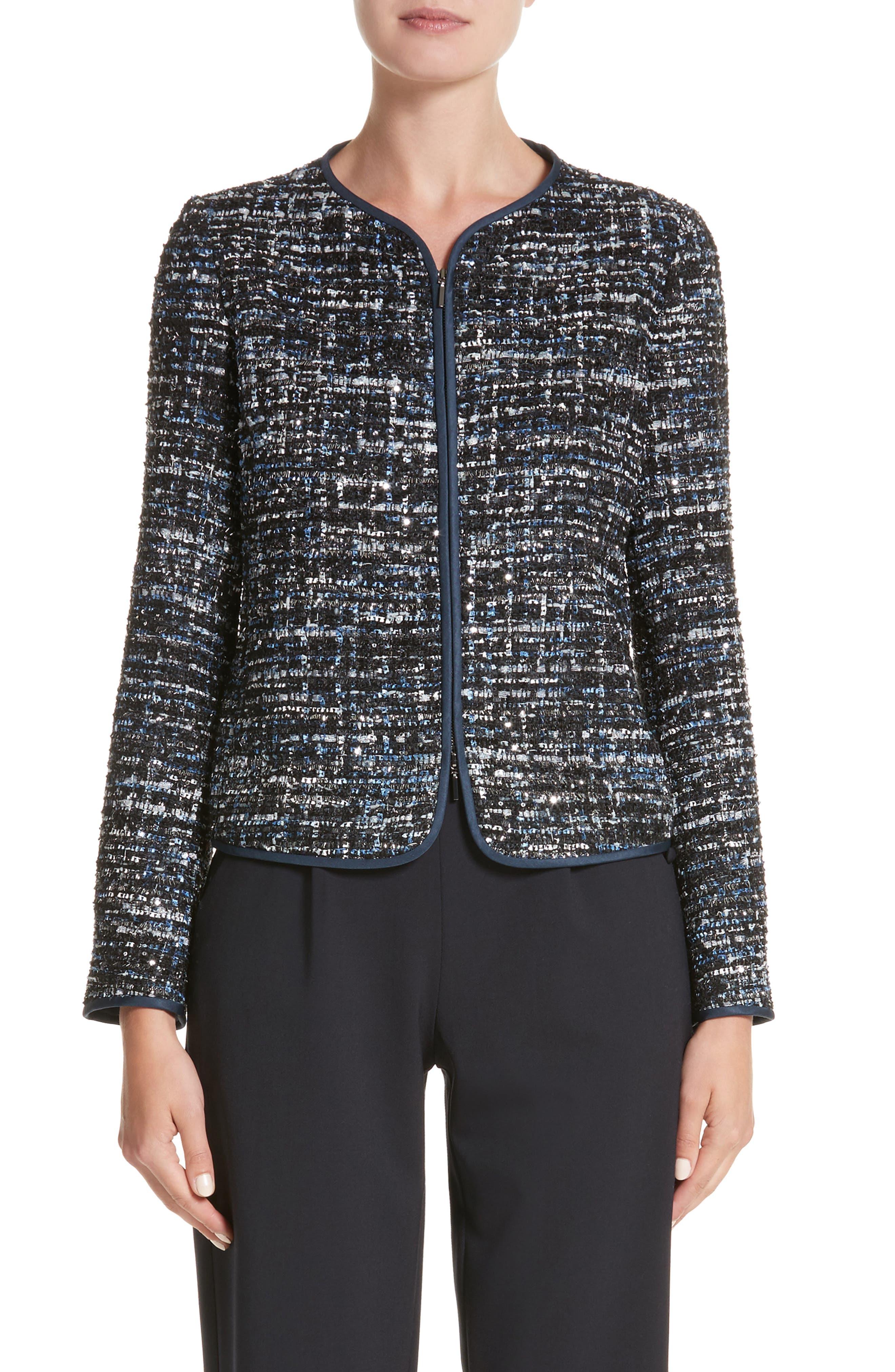Sequin Tweed Jacket,                         Main,                         color, 001