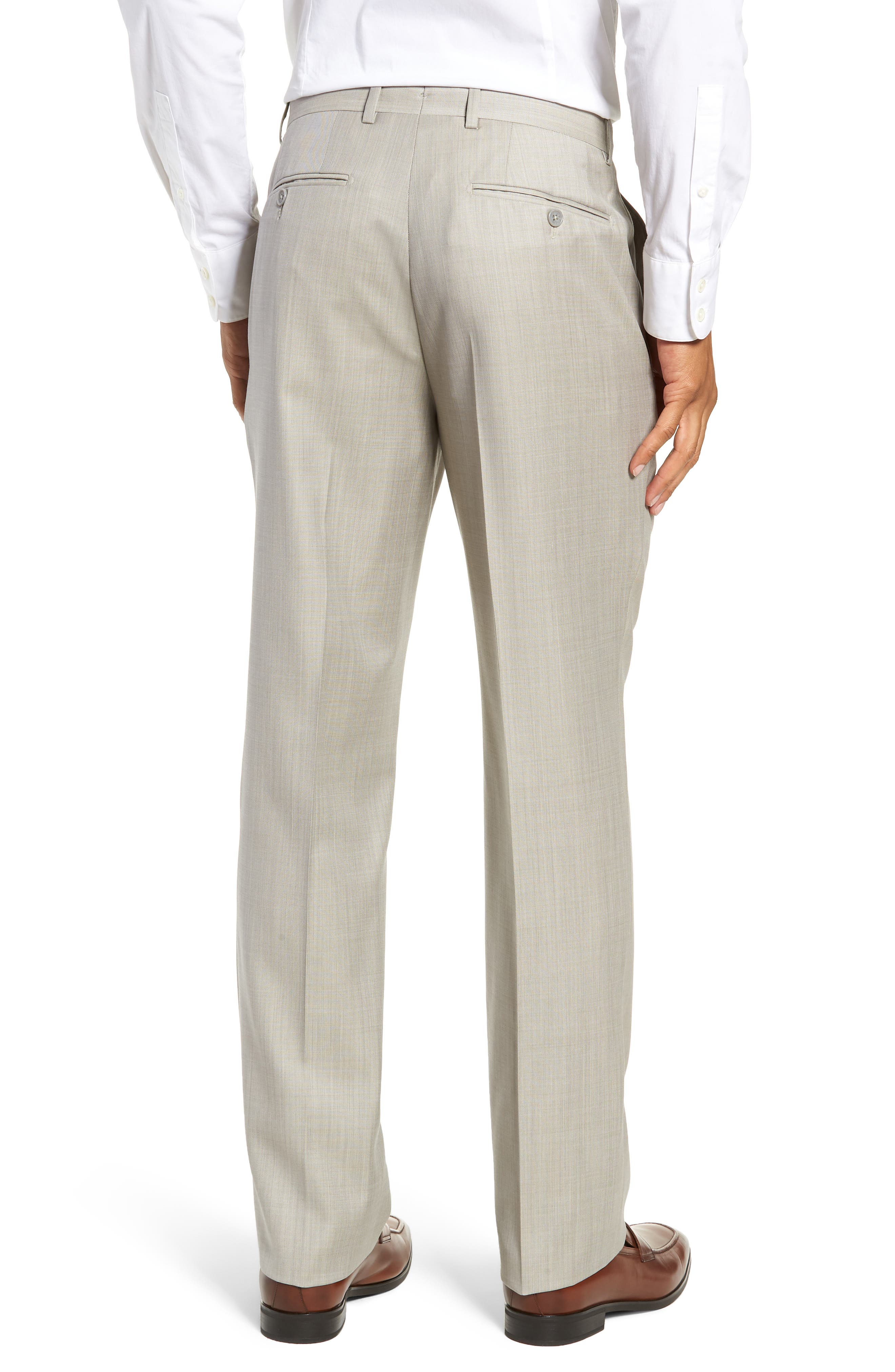Flat Front Sharkskin Wool Trousers,                             Alternate thumbnail 2, color,                             SAND