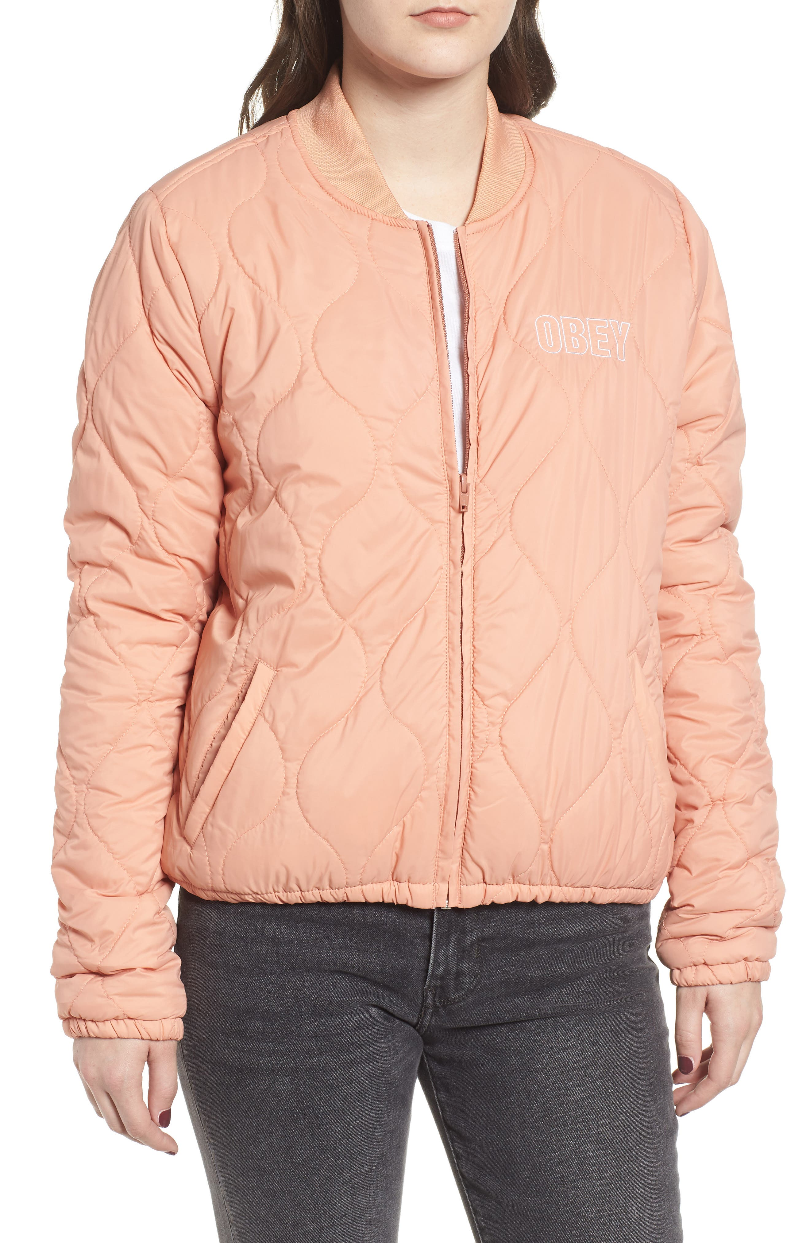 OBEY,                             Bunker Quilted Bomber Jacket,                             Alternate thumbnail 5, color,                             950