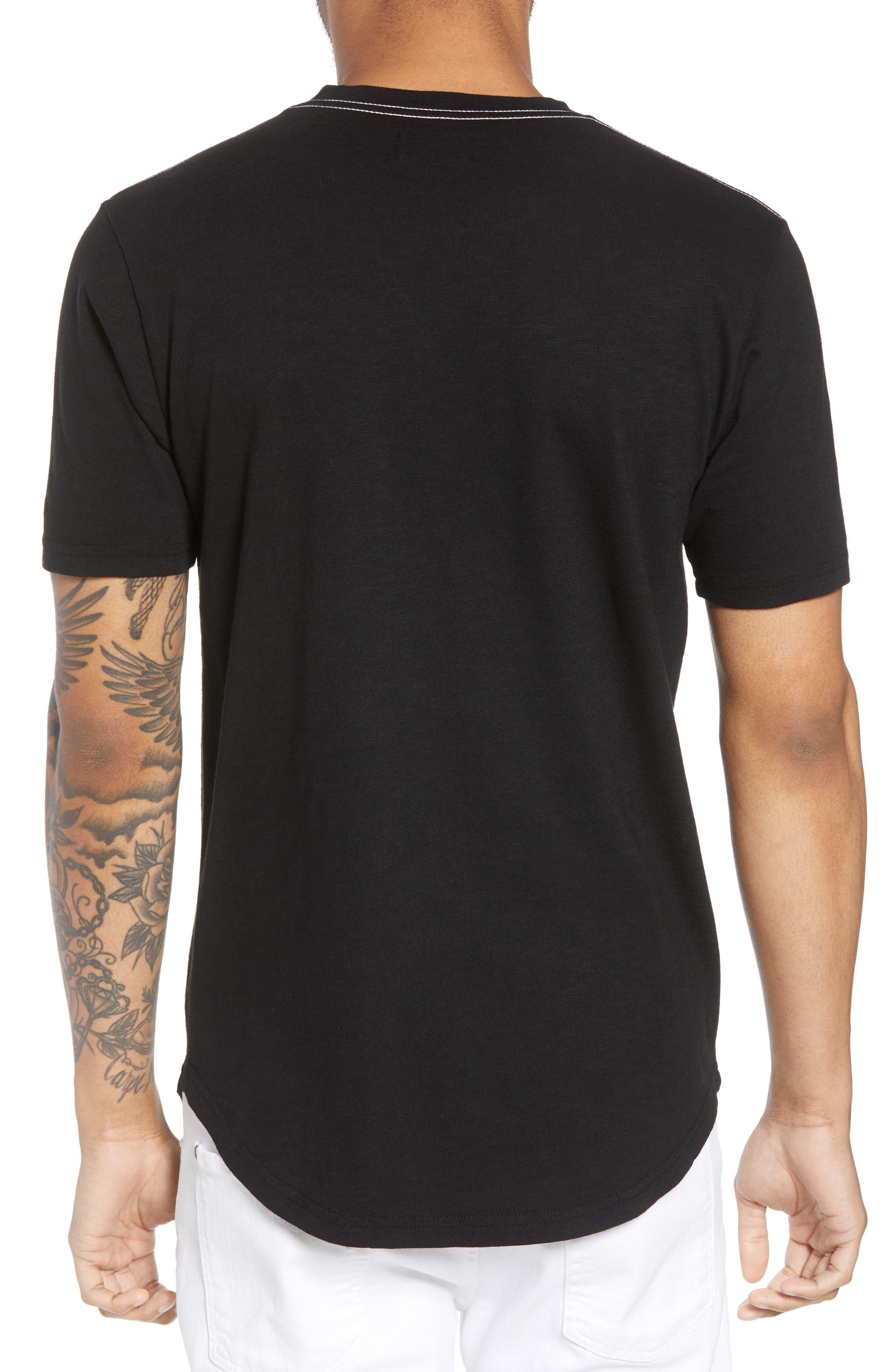 Scallop Hem Slub Crewneck T-Shirt,                             Alternate thumbnail 2, color,                             001