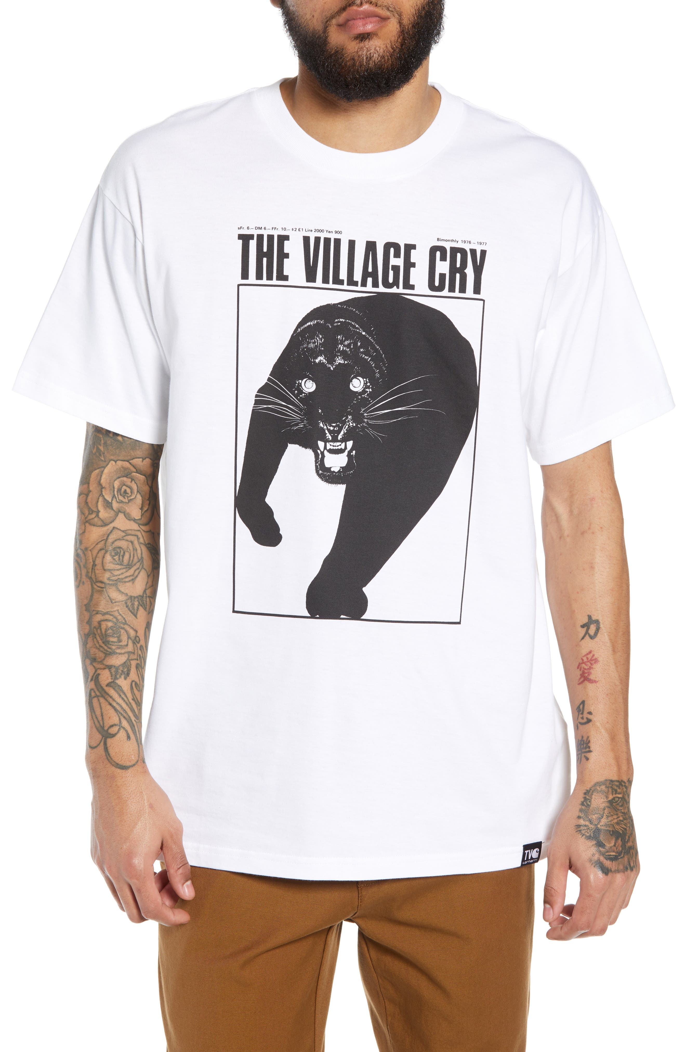 CARHARTT WORK IN PROGRESS Panther Graphic T-Shirt in White / Black