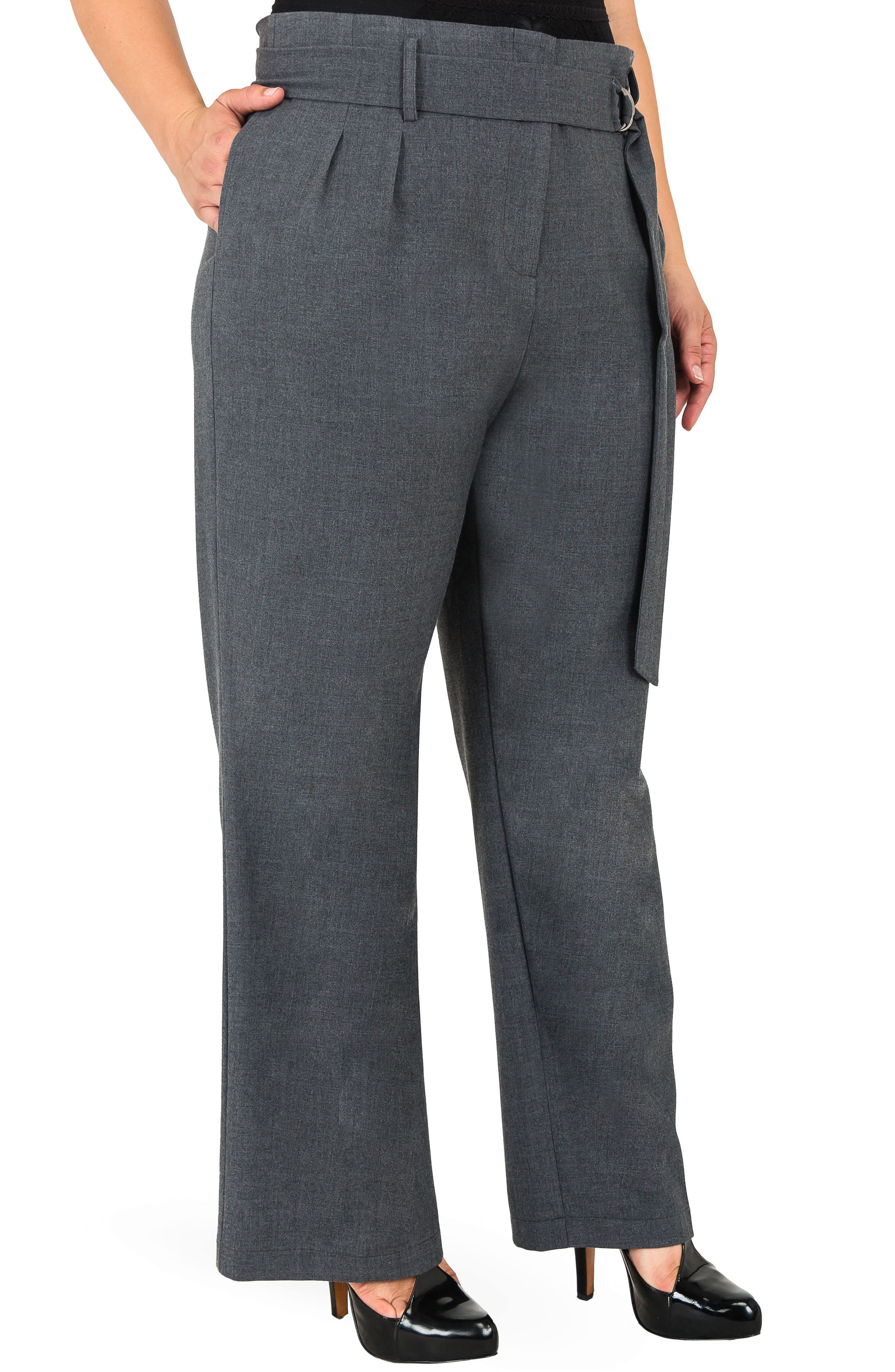 Franchesca High Rise Paperbag Trousers,                             Alternate thumbnail 3, color,                             CHARCOAL