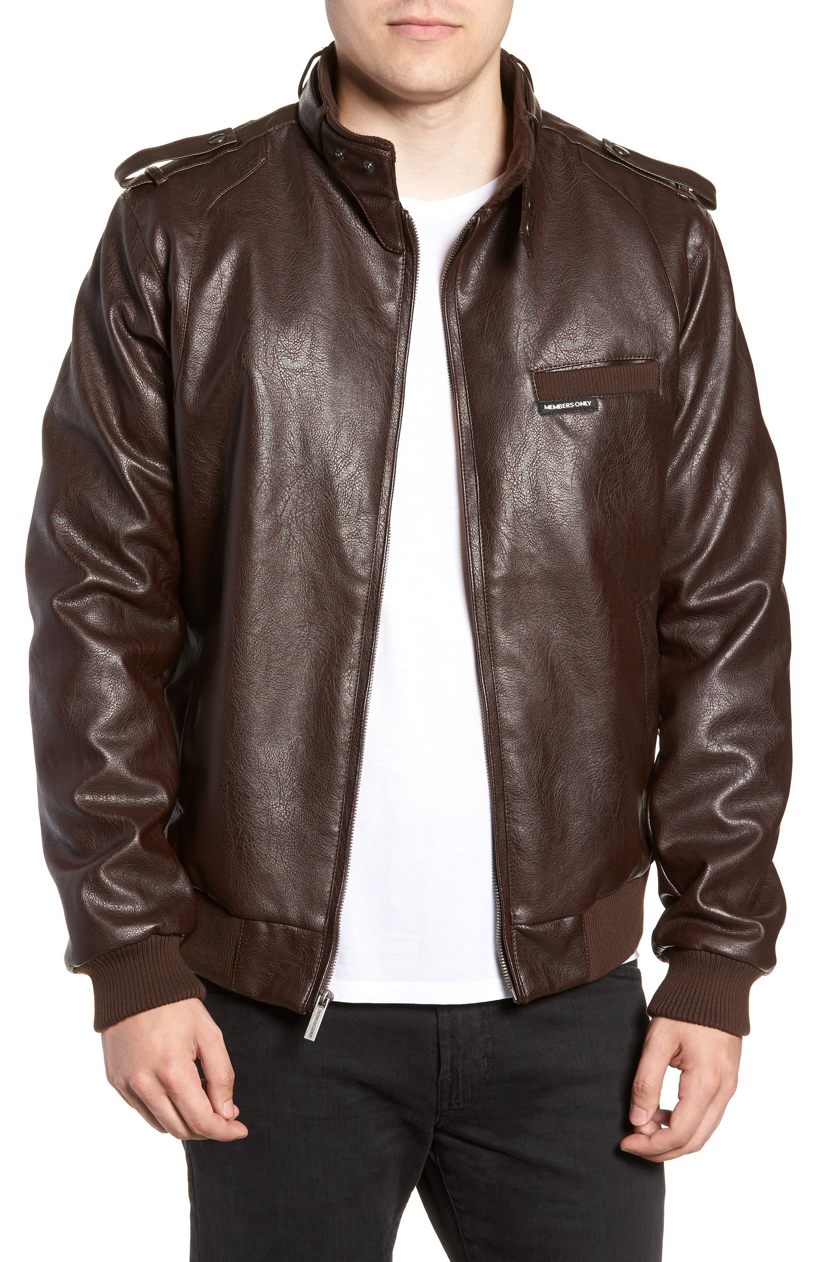 Vintage Faux Leather Racer Jacket,                             Main thumbnail 1, color,                             DISTRESSED BROWN