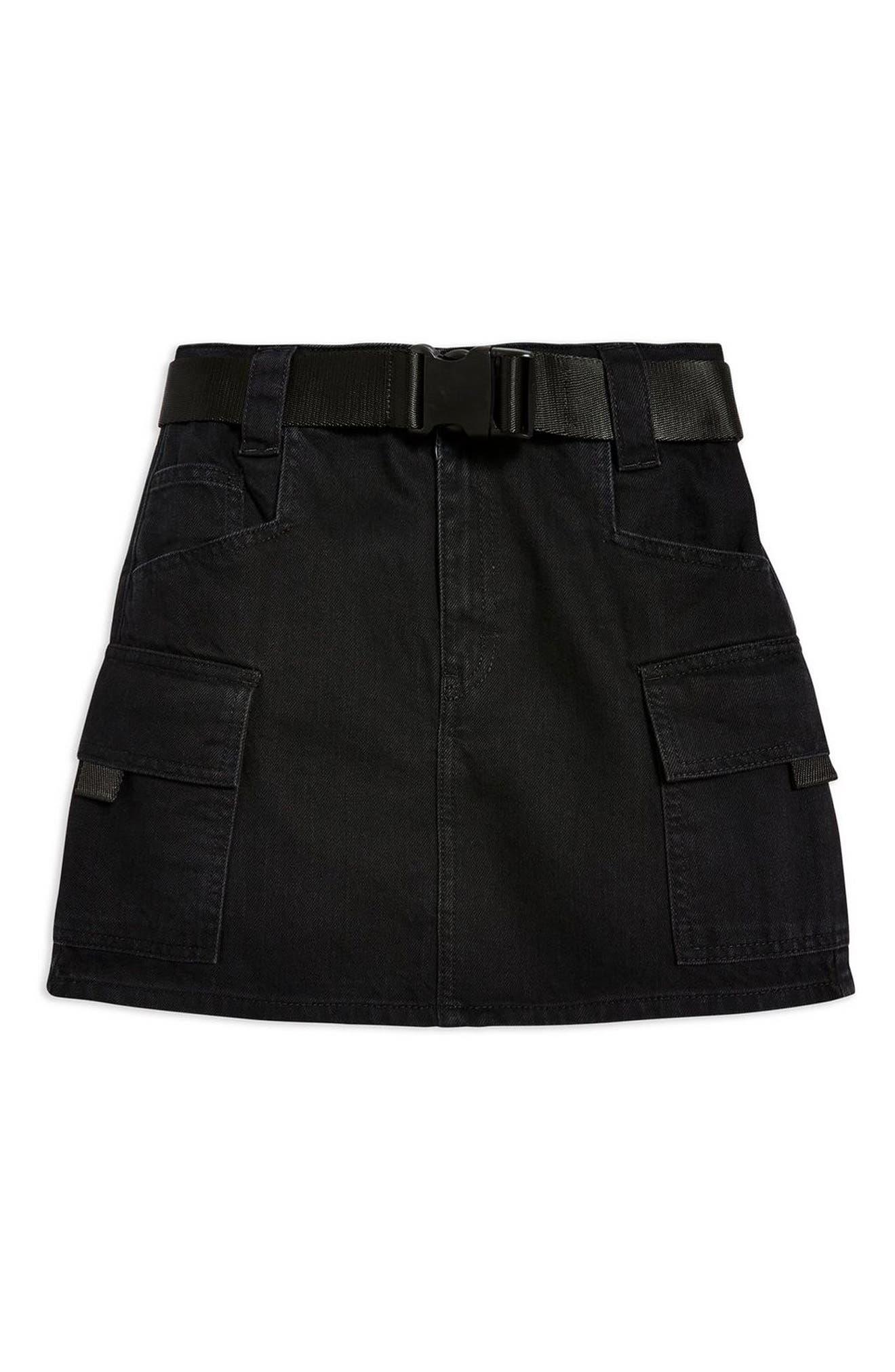 Clip Belt Skirt,                             Alternate thumbnail 4, color,                             BLACK