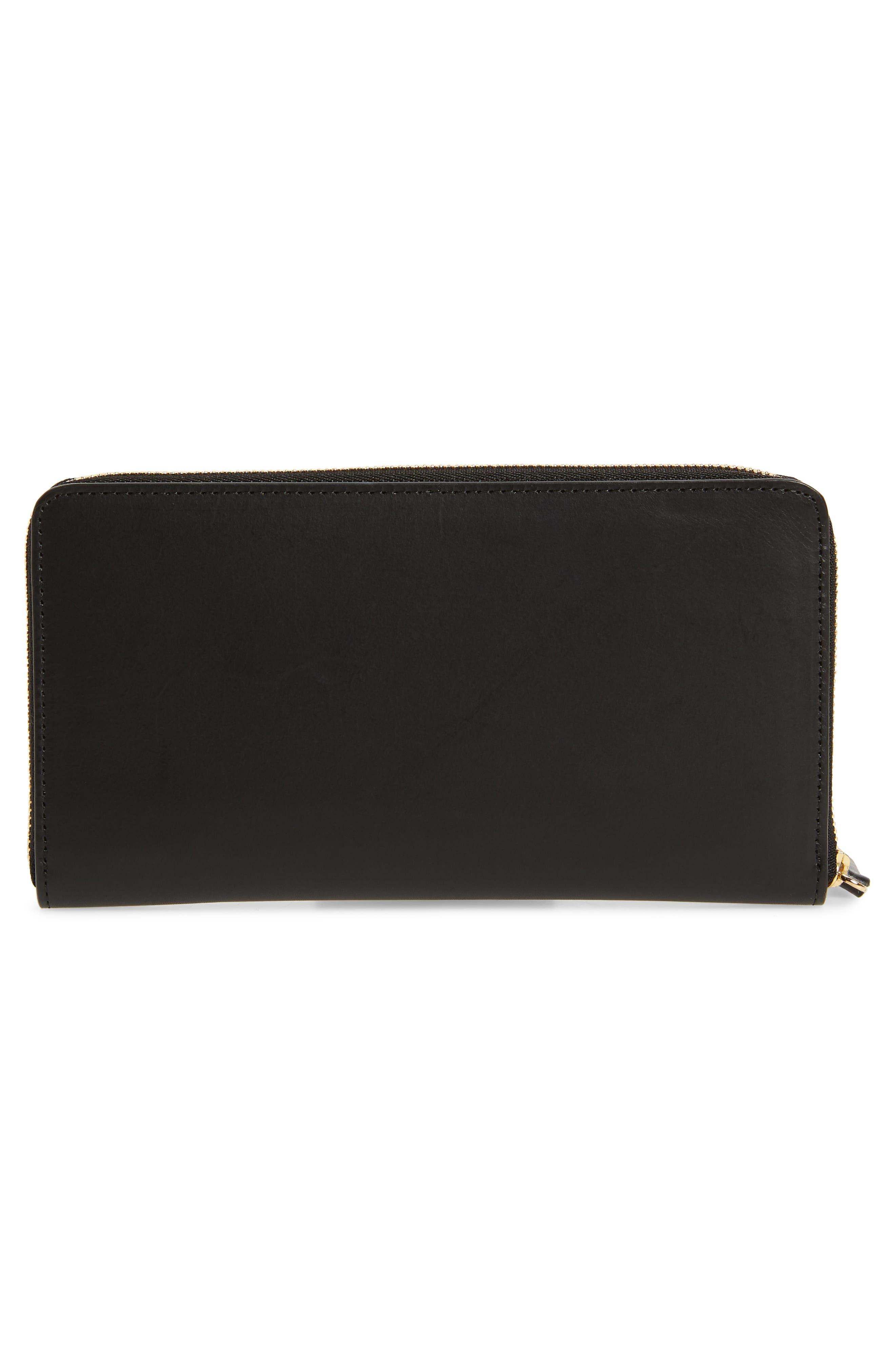 Continental Zip Leather Wallet,                             Alternate thumbnail 3, color,                             BLACK/ FLAMMA