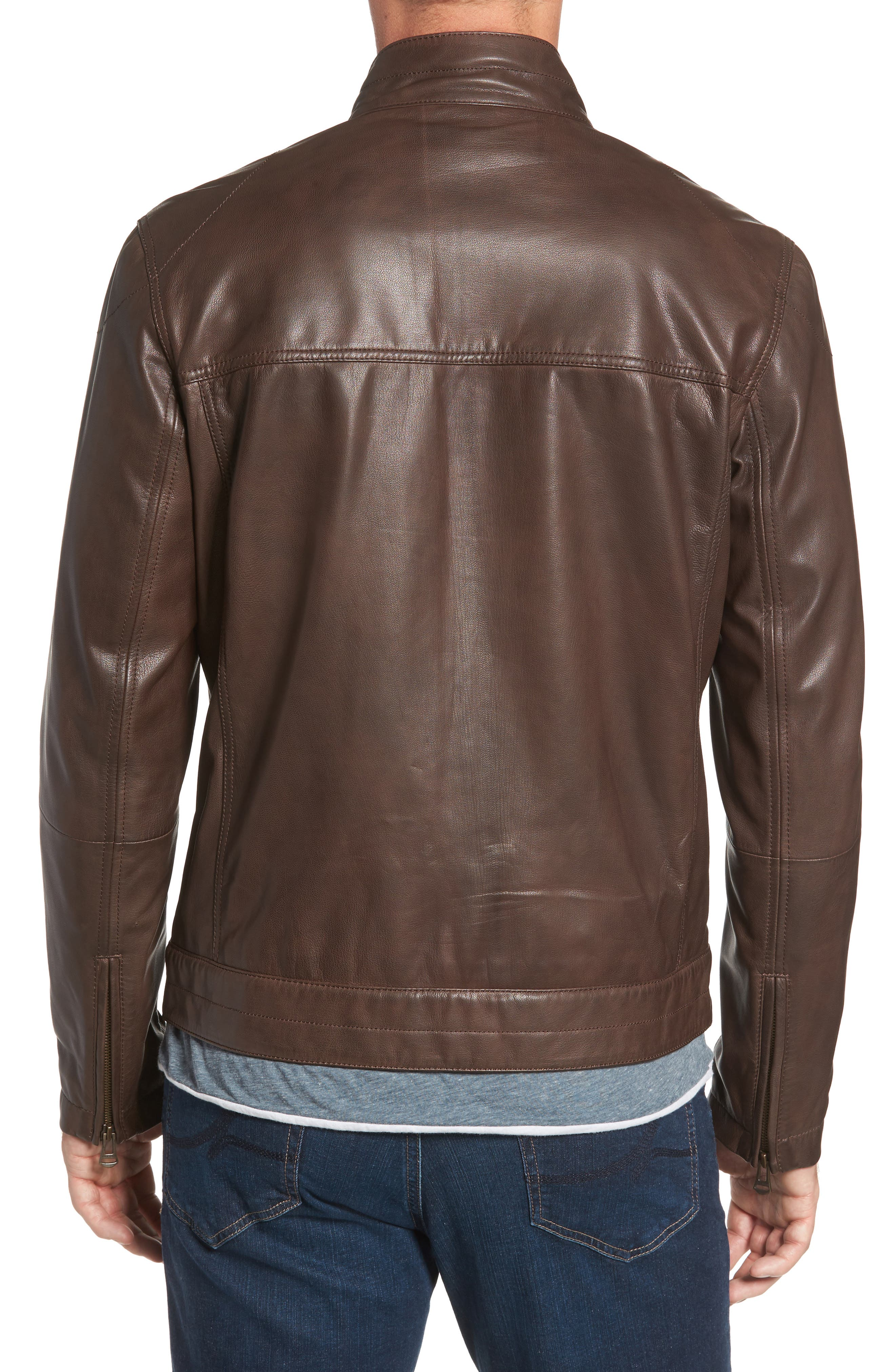 Washed Leather Trucker Jacket,                             Alternate thumbnail 2, color,                             BROWN