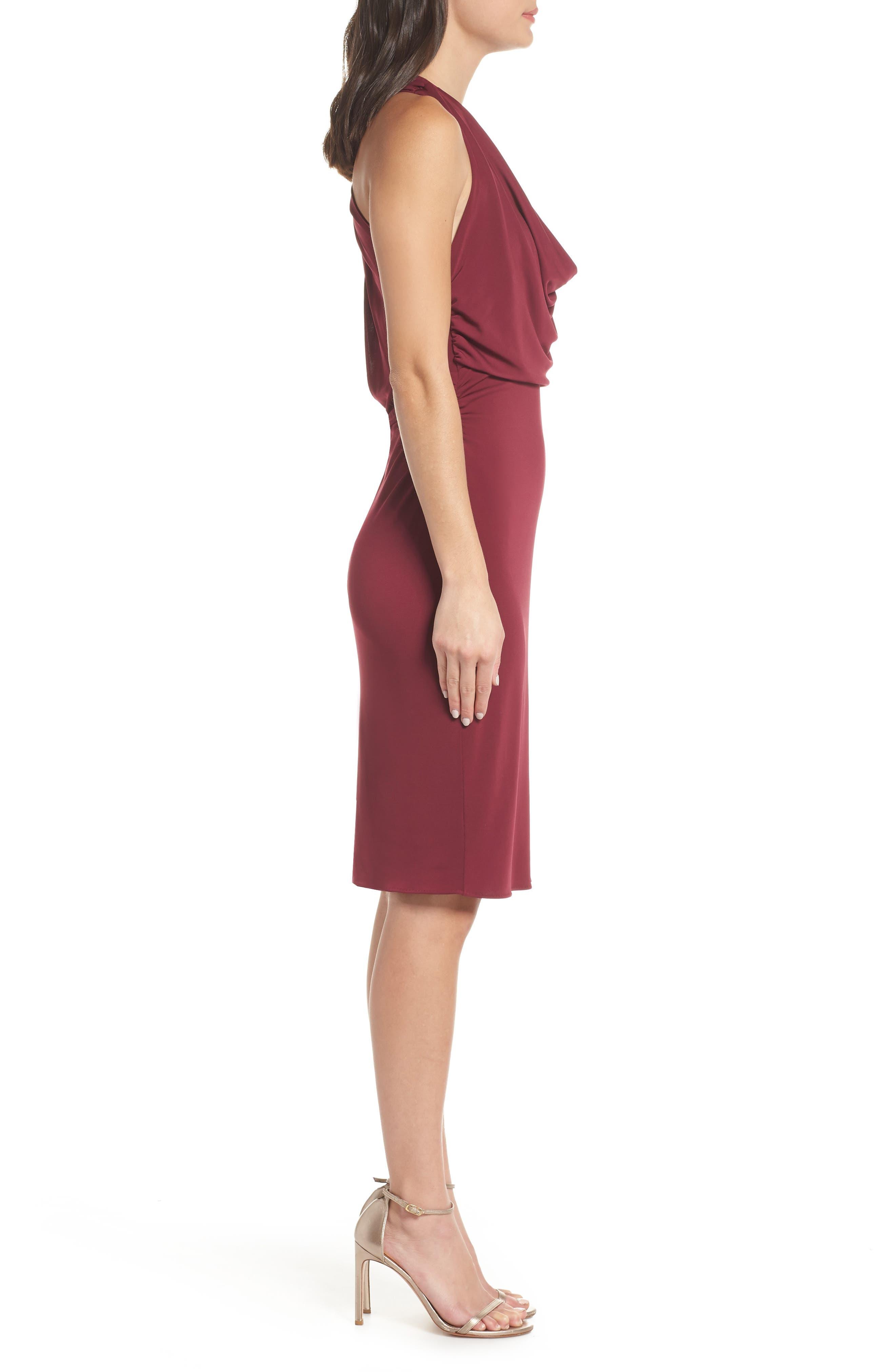 Elise Cowl Neck Sleeveless Dress,                             Alternate thumbnail 3, color,                             BURGUNDY