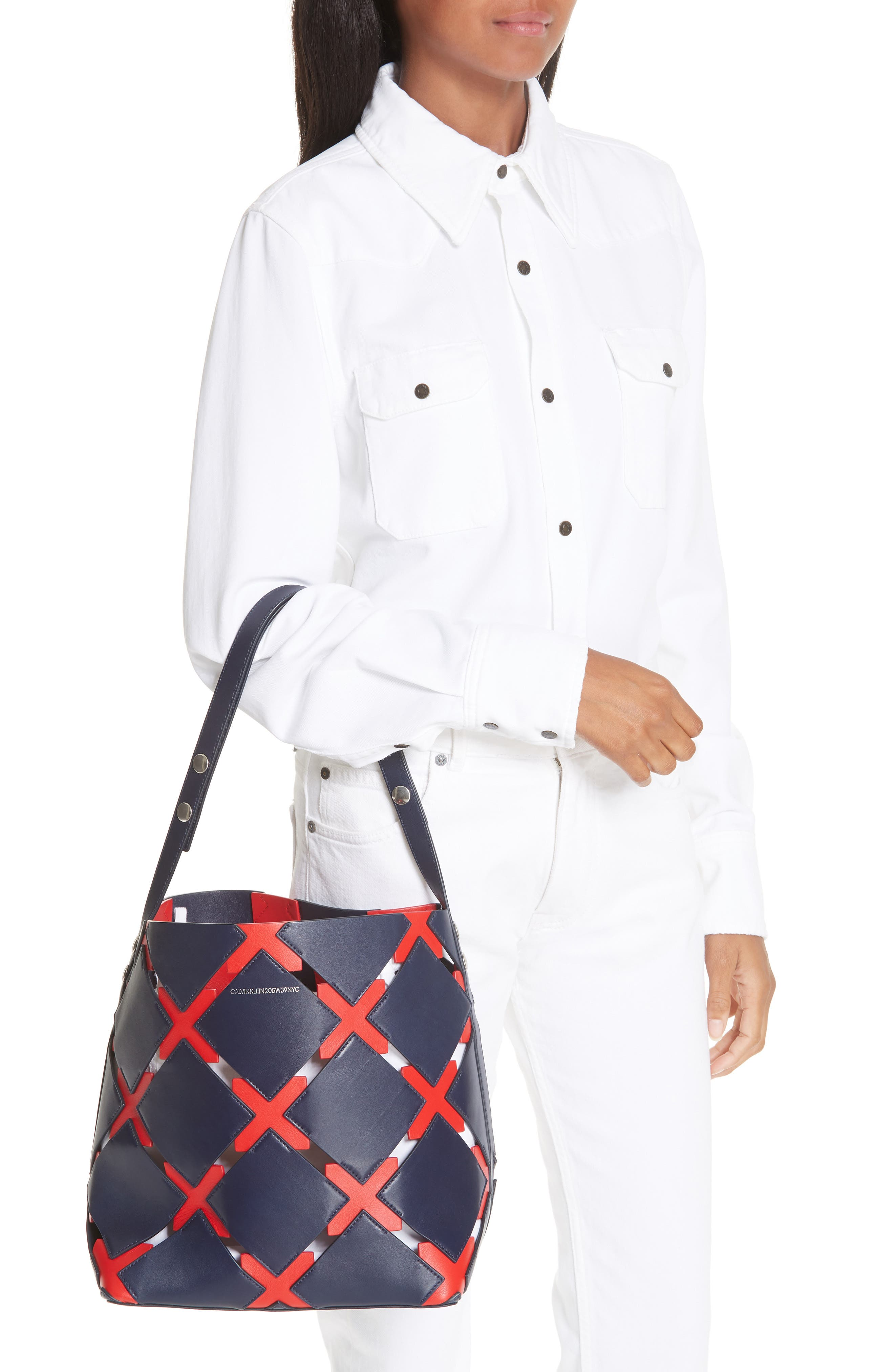 Patchwork Quilt Leather Bucket Bag,                             Alternate thumbnail 2, color,                             NAVY/ RED