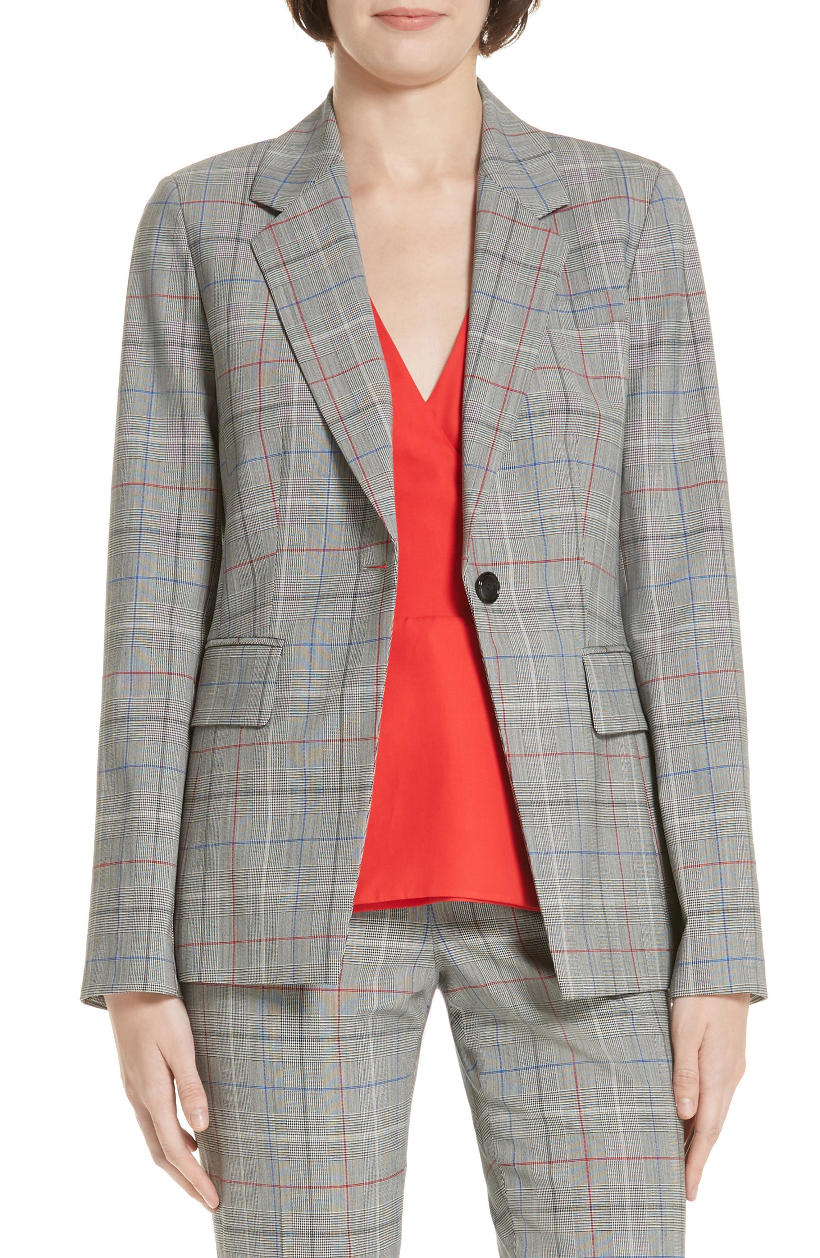 LEWIT,                             Check Stretch Wool Blazer,                             Main thumbnail 1, color,                             001
