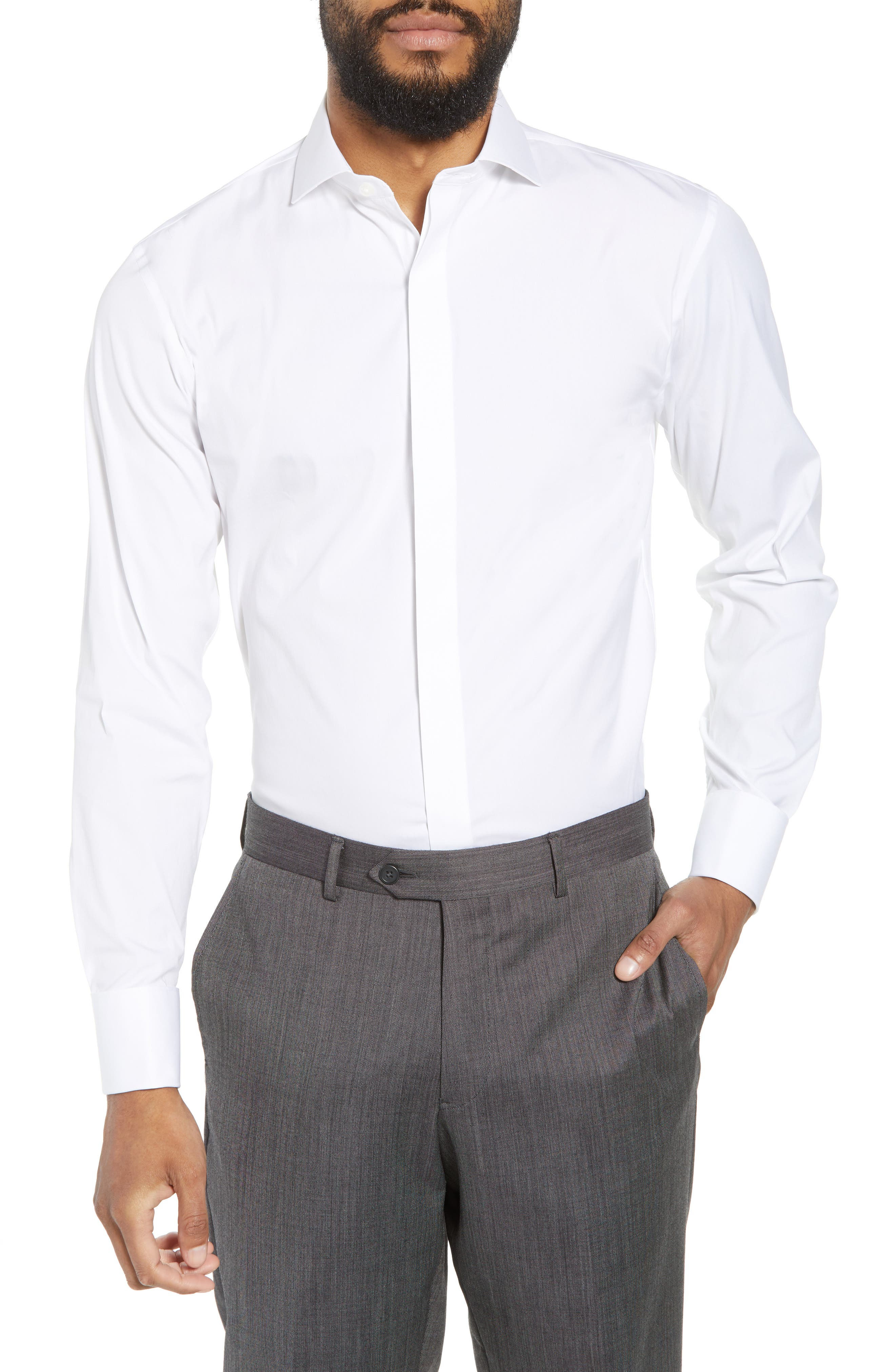 Capstone Stretch Slim Fit Tuxedo Shirt,                         Main,                         color, WHITE