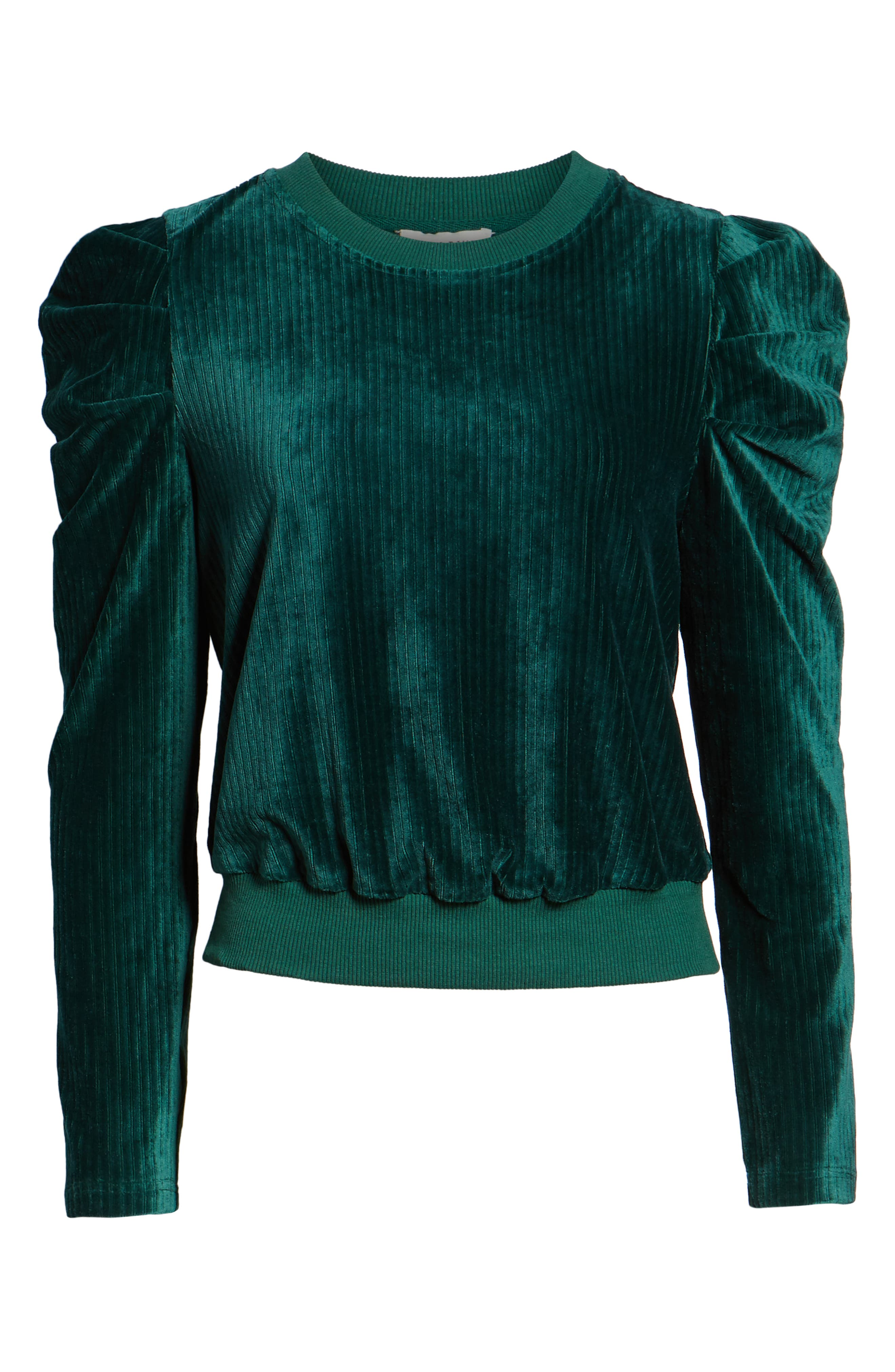 Velour Puff Sleeve Sweatshirt,                             Alternate thumbnail 6, color,                             PINE