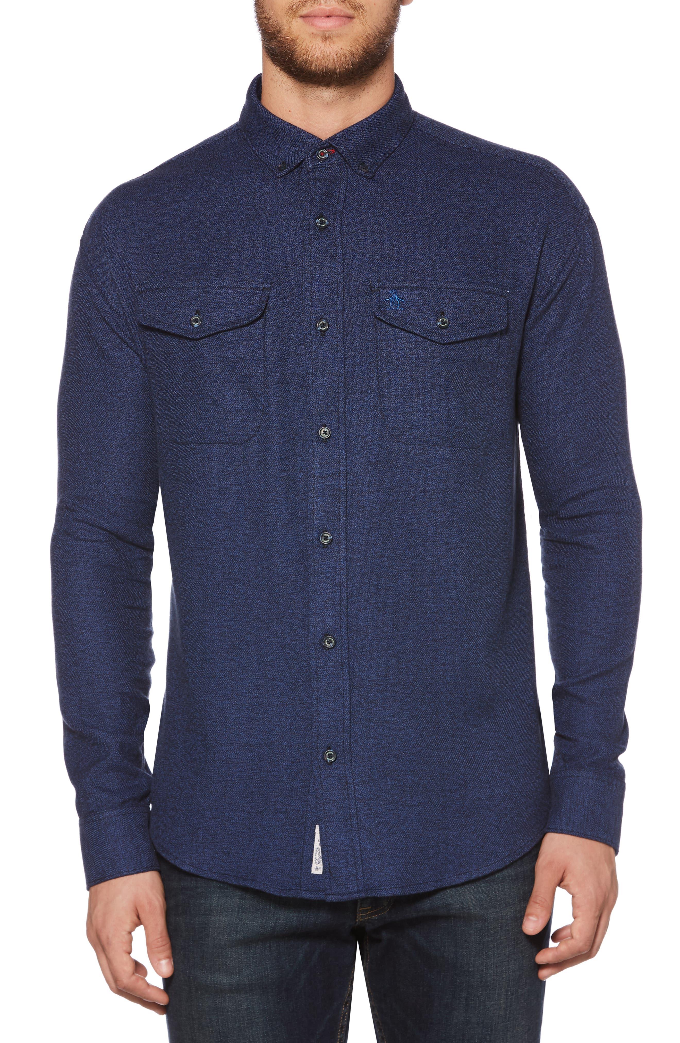 Jaspé Stretch Flannel Sport Shirt,                             Main thumbnail 1, color,                             CLASSIC BLUE