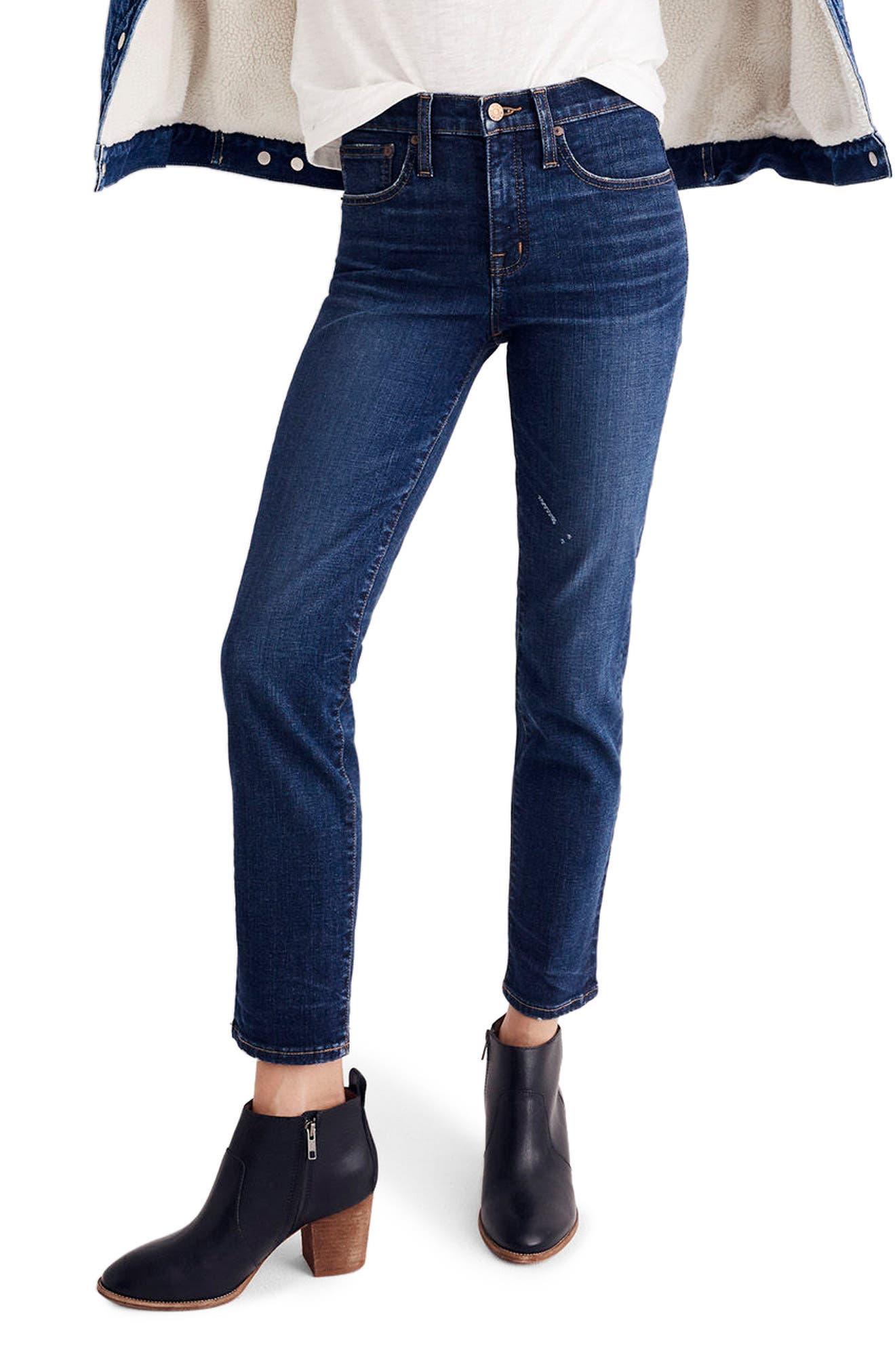 MADEWELL High Waist Slim Straight Leg Jeans, Main, color, 400