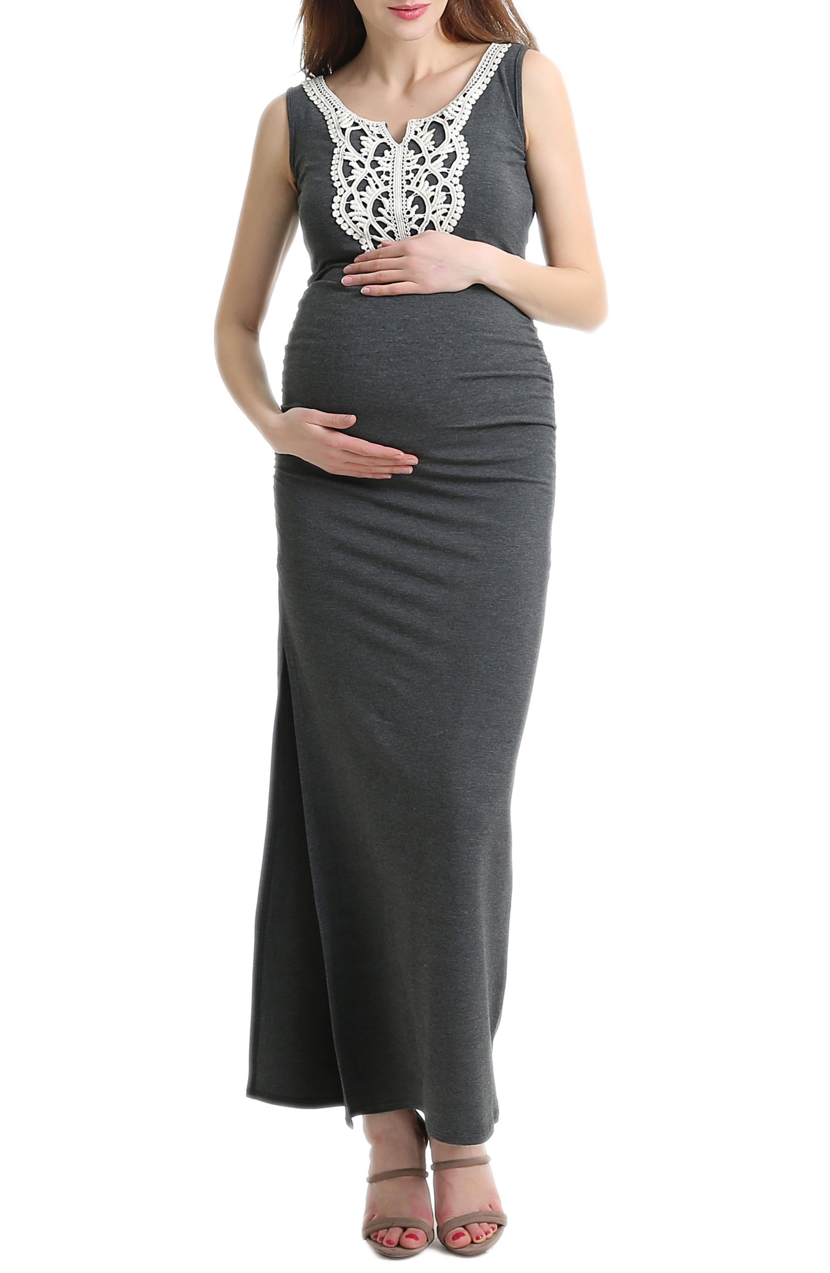Bethany Crochet Trim Maternity Maxi Dress,                         Main,                         color, DARK HEATHER GREY
