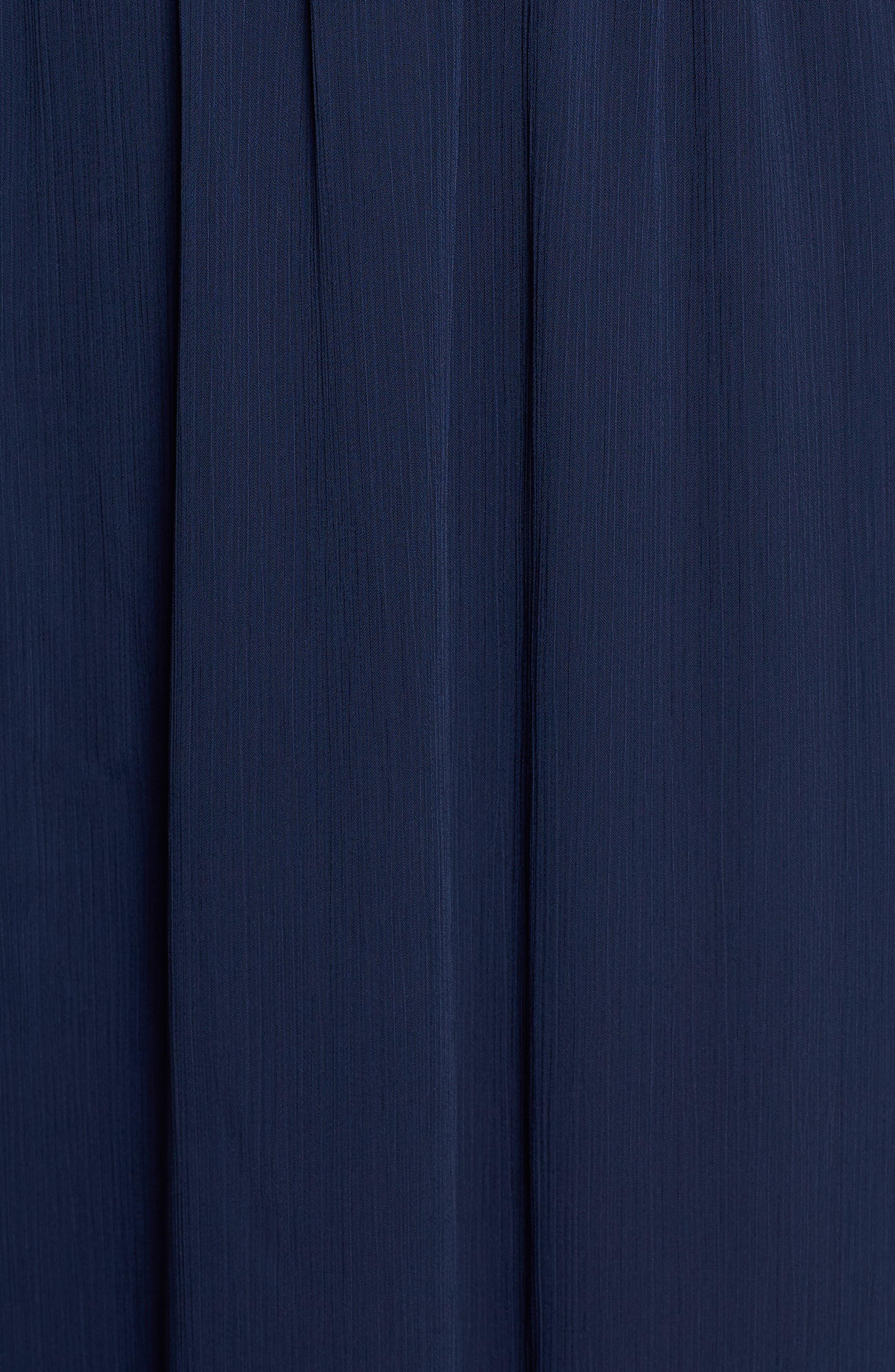 Satin Trim Chiffon Dress,                             Alternate thumbnail 6, color,                             NAVY