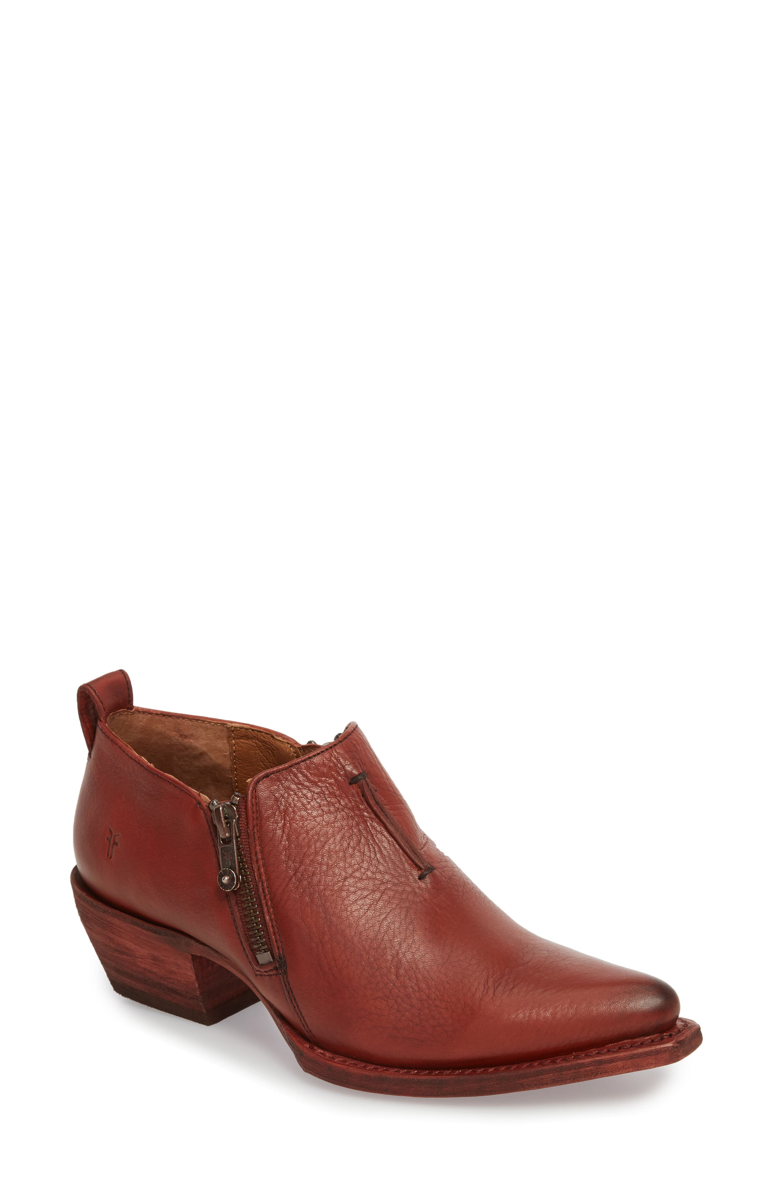 'Sacha' Moto Shootie,                         Main,                         color, RED CLAY LEATHER